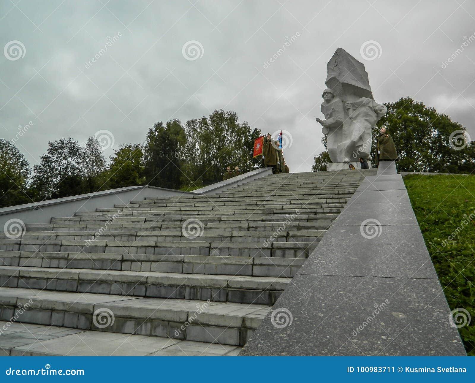 作为争斗的重建的一部分一次纪念集会在莫斯科附近的世界大战2