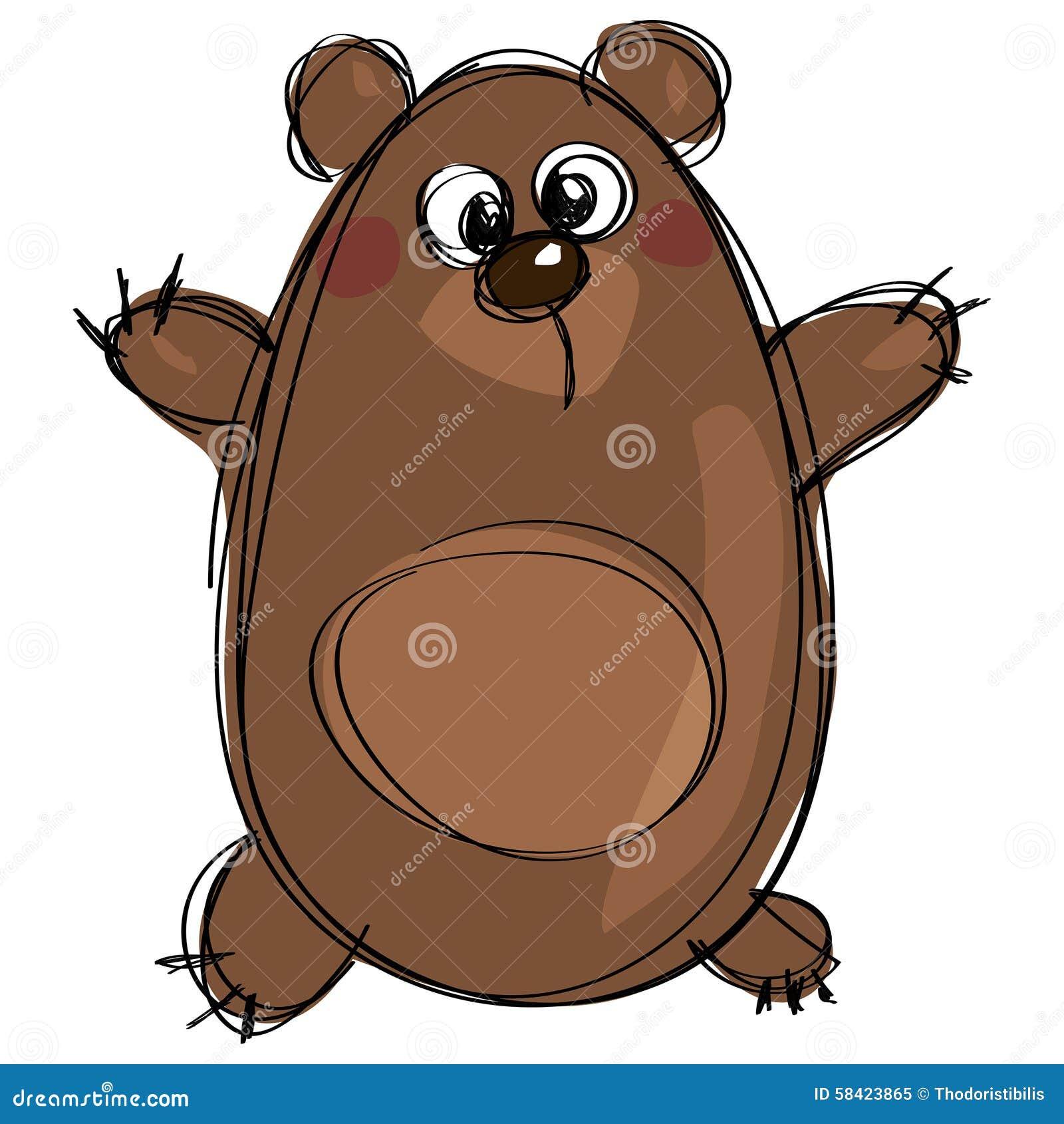 作为天真儿童画的动画片棕色逗人喜爱的北美灰熊