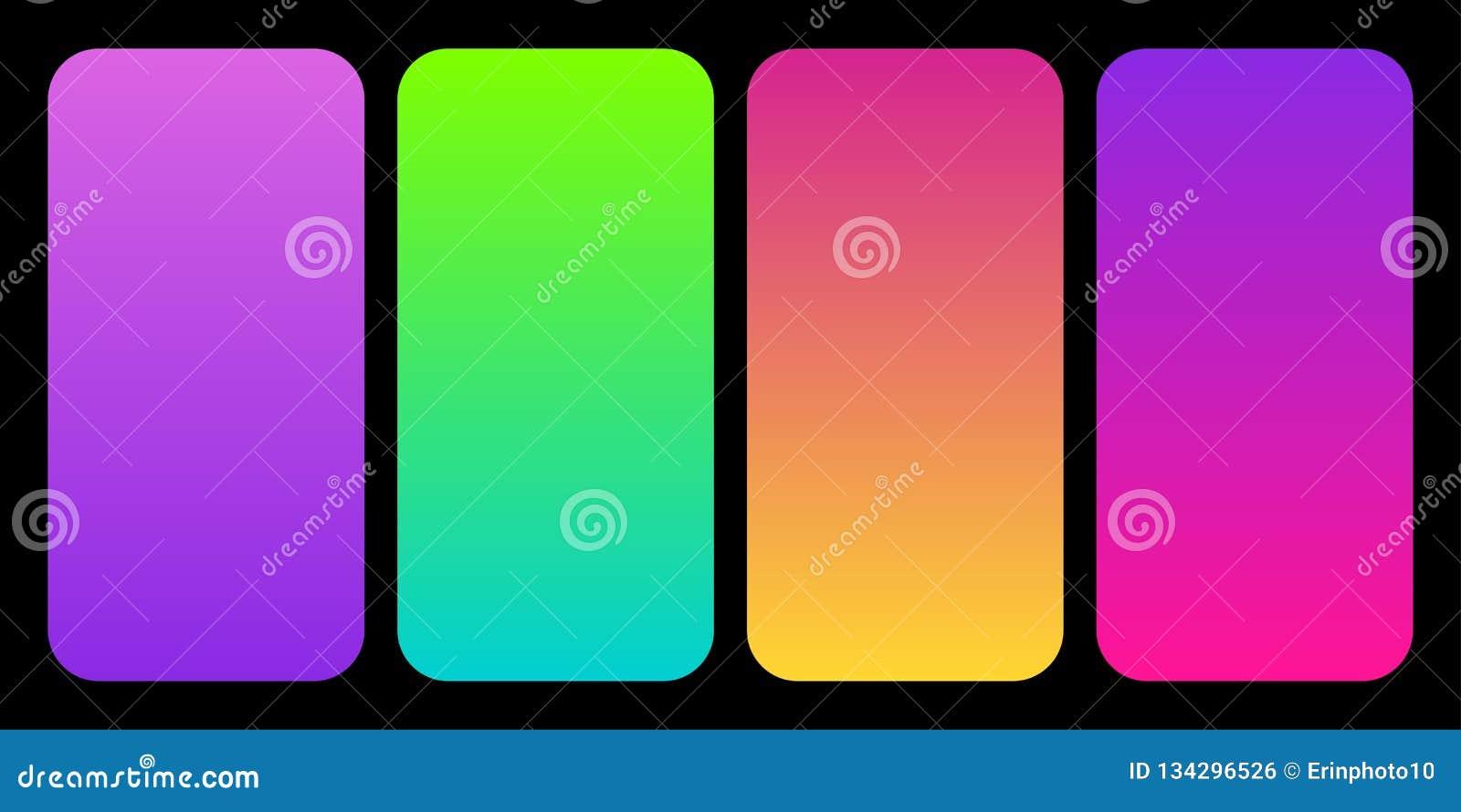 作为套的时髦2019个色板显示梯度收藏塑料桃红色、飞碟绿色、氢核紫色和居住的珊瑚