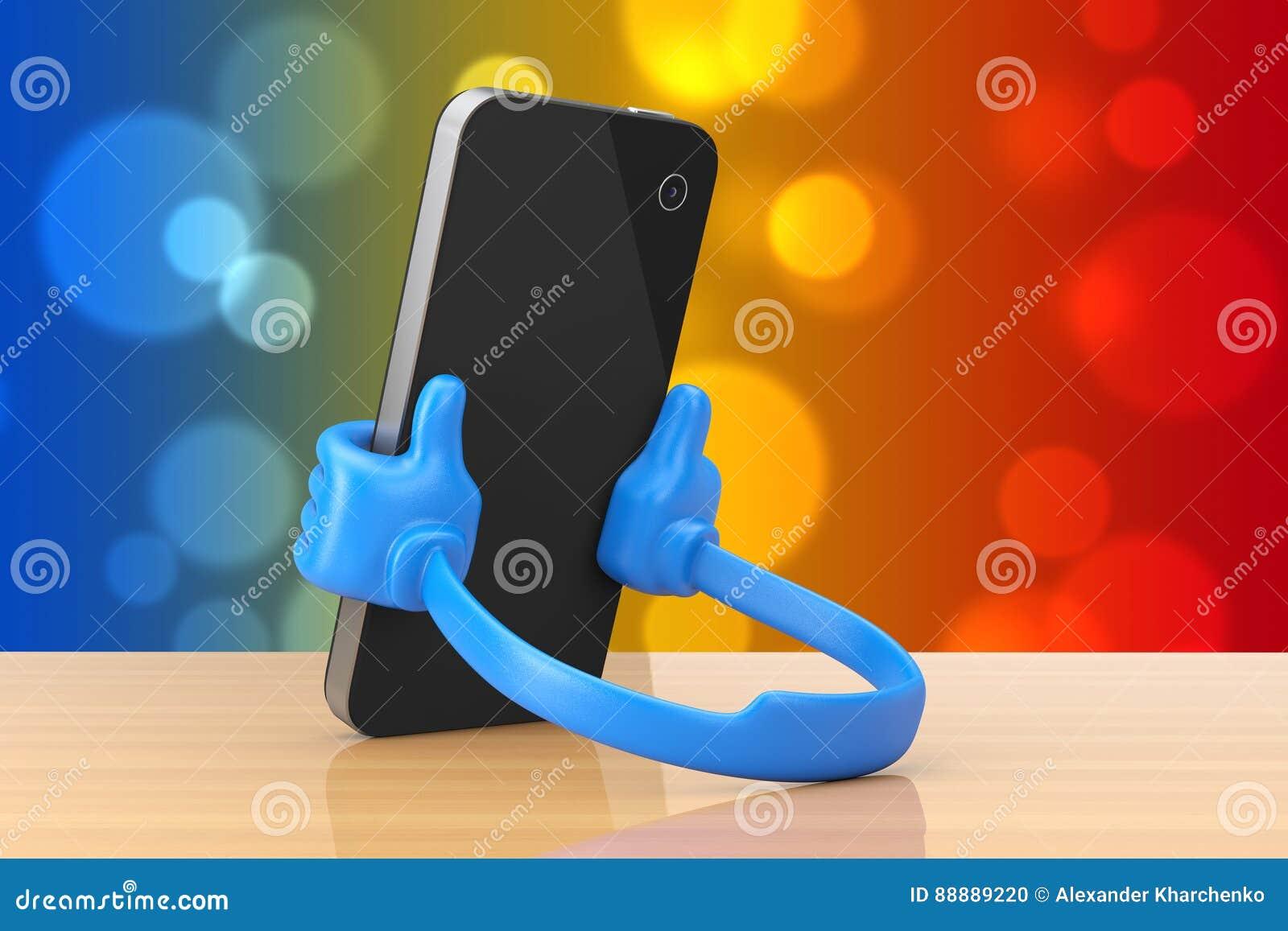 作为手的塑料手机持有人拿着智能手机 3D renderi