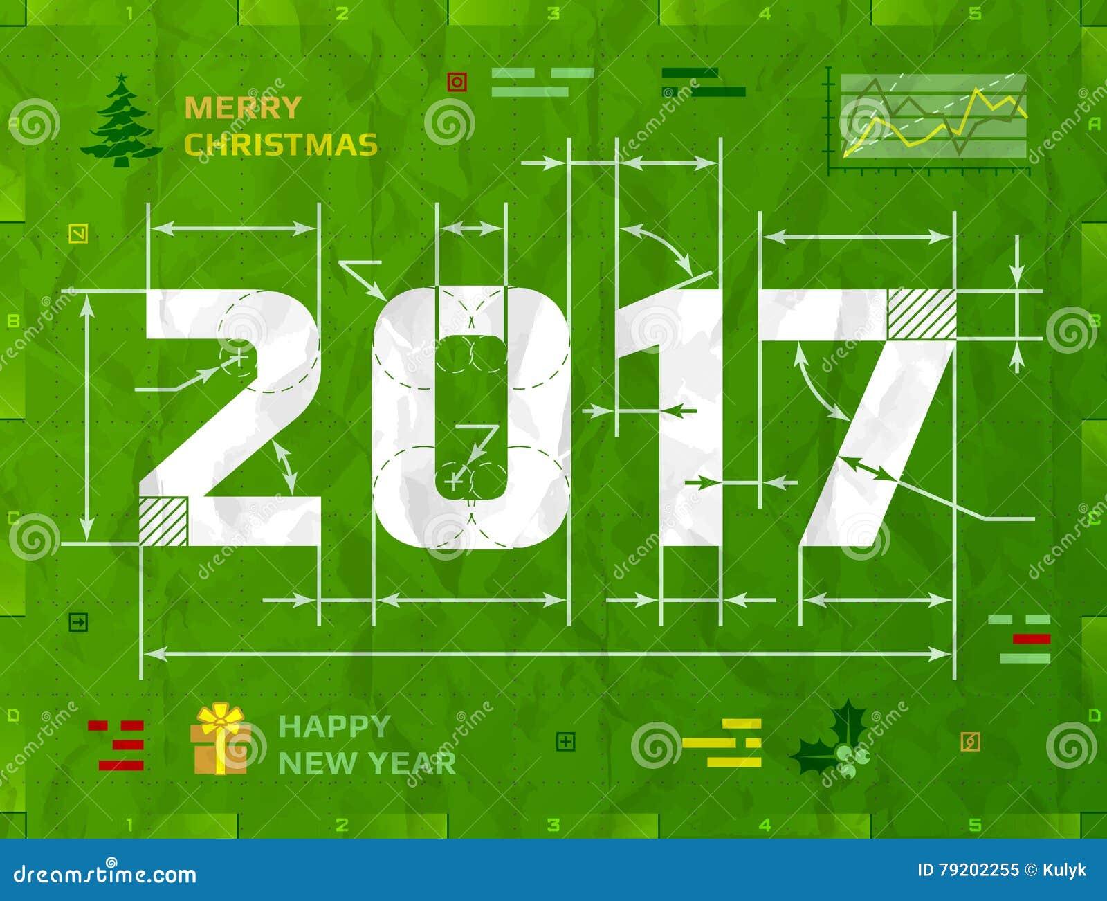 作为技术图纸图画的新年2017