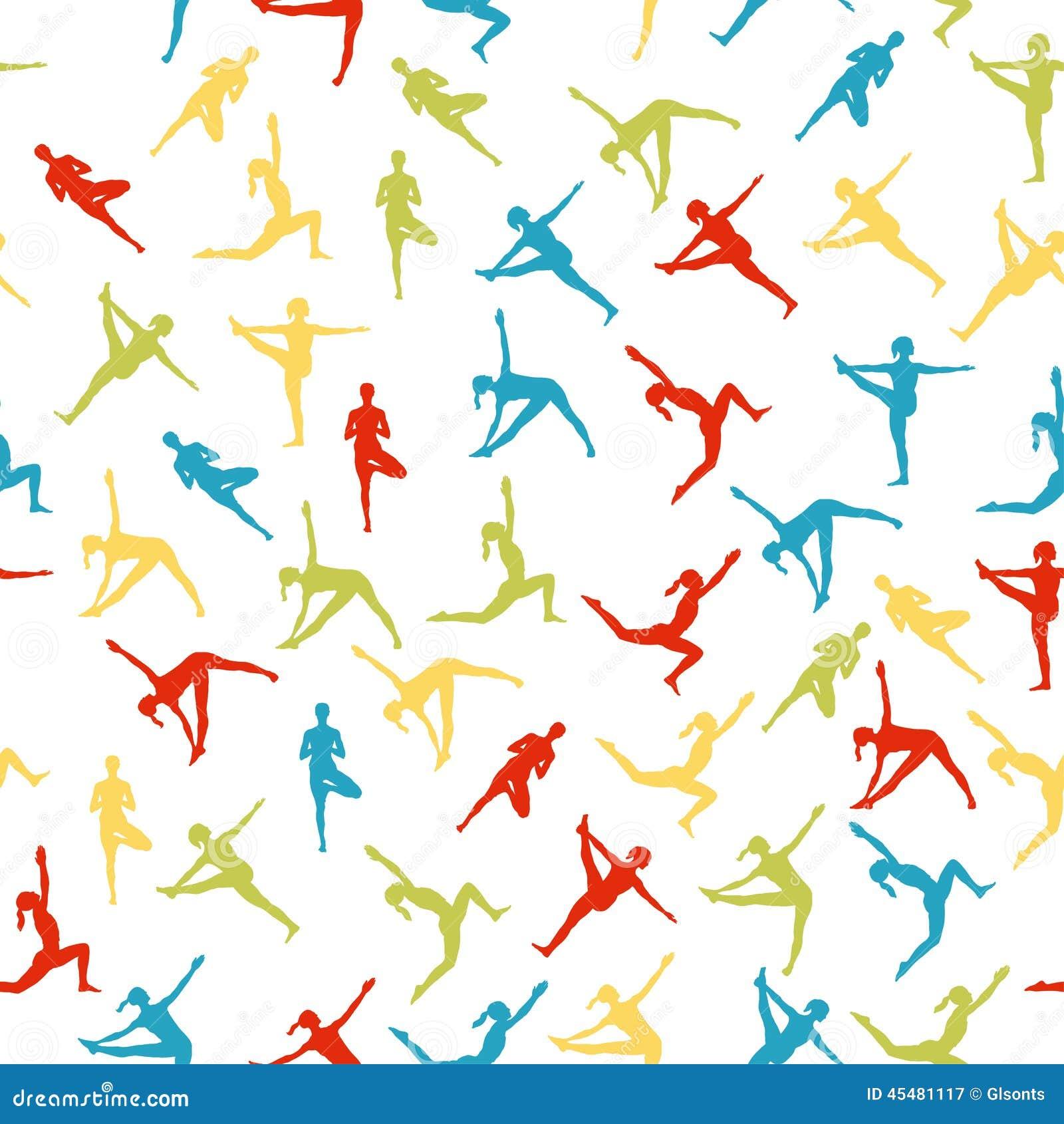 作为无缝的背景的瑜伽姿势 EPS, JPG