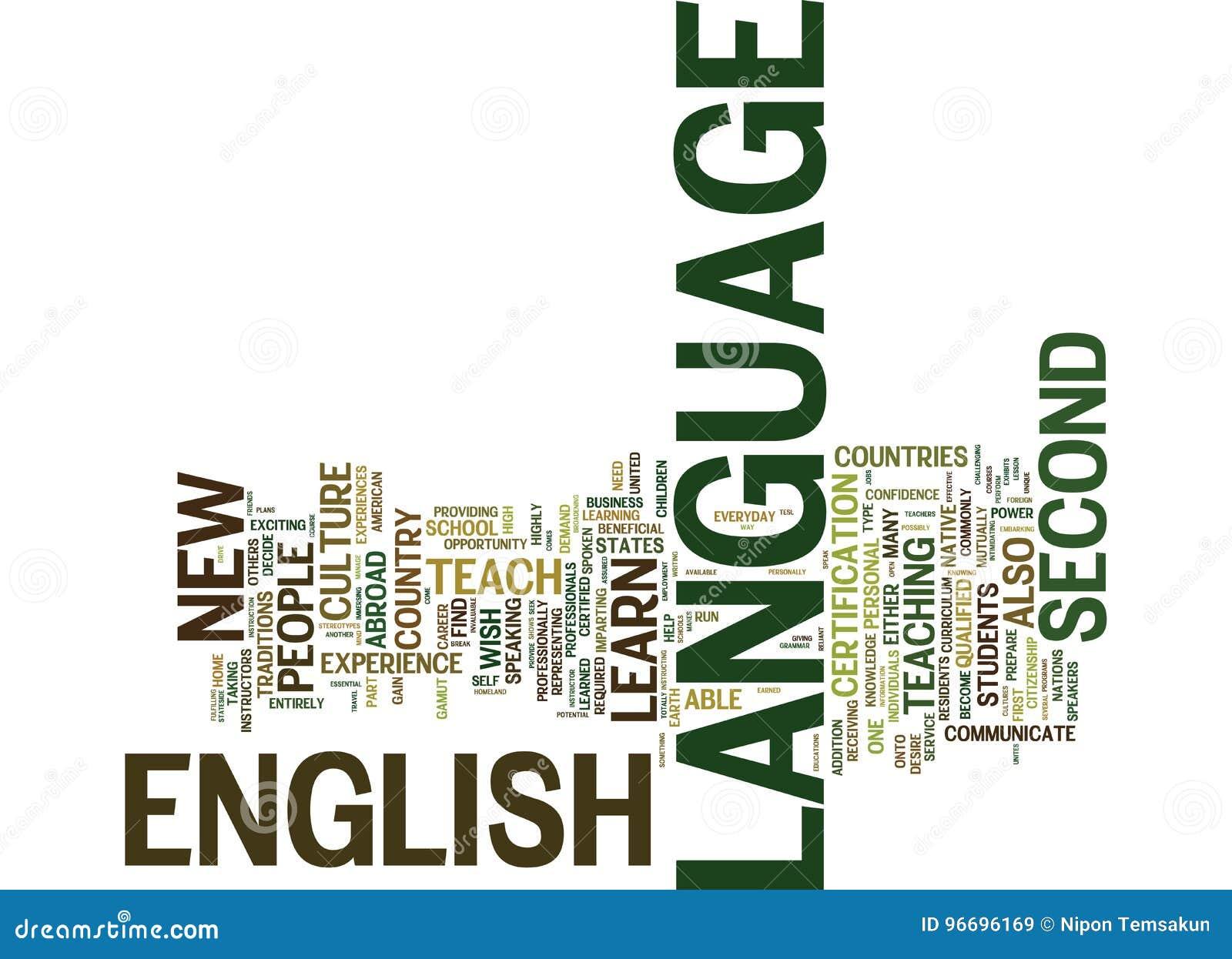作为A第二语言文本背景词云彩概念的英语