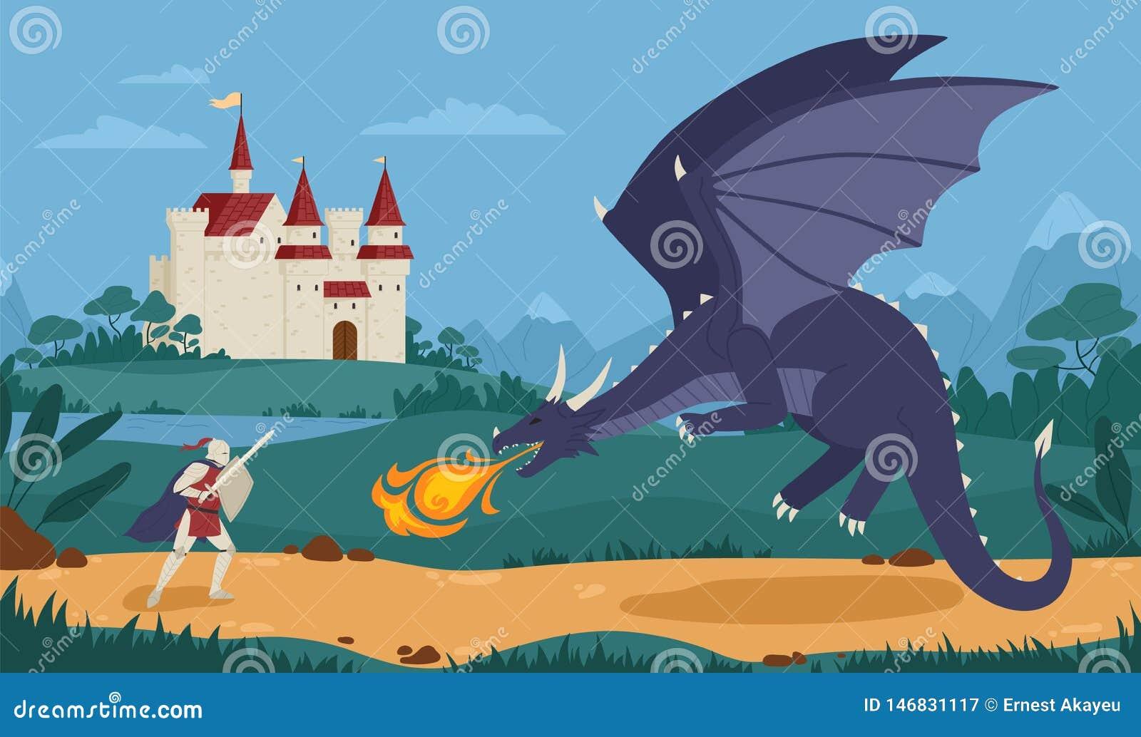 作战与龙的勇敢的骑士或剑客与在背景的中世纪城堡 传奇英雄奋斗反对