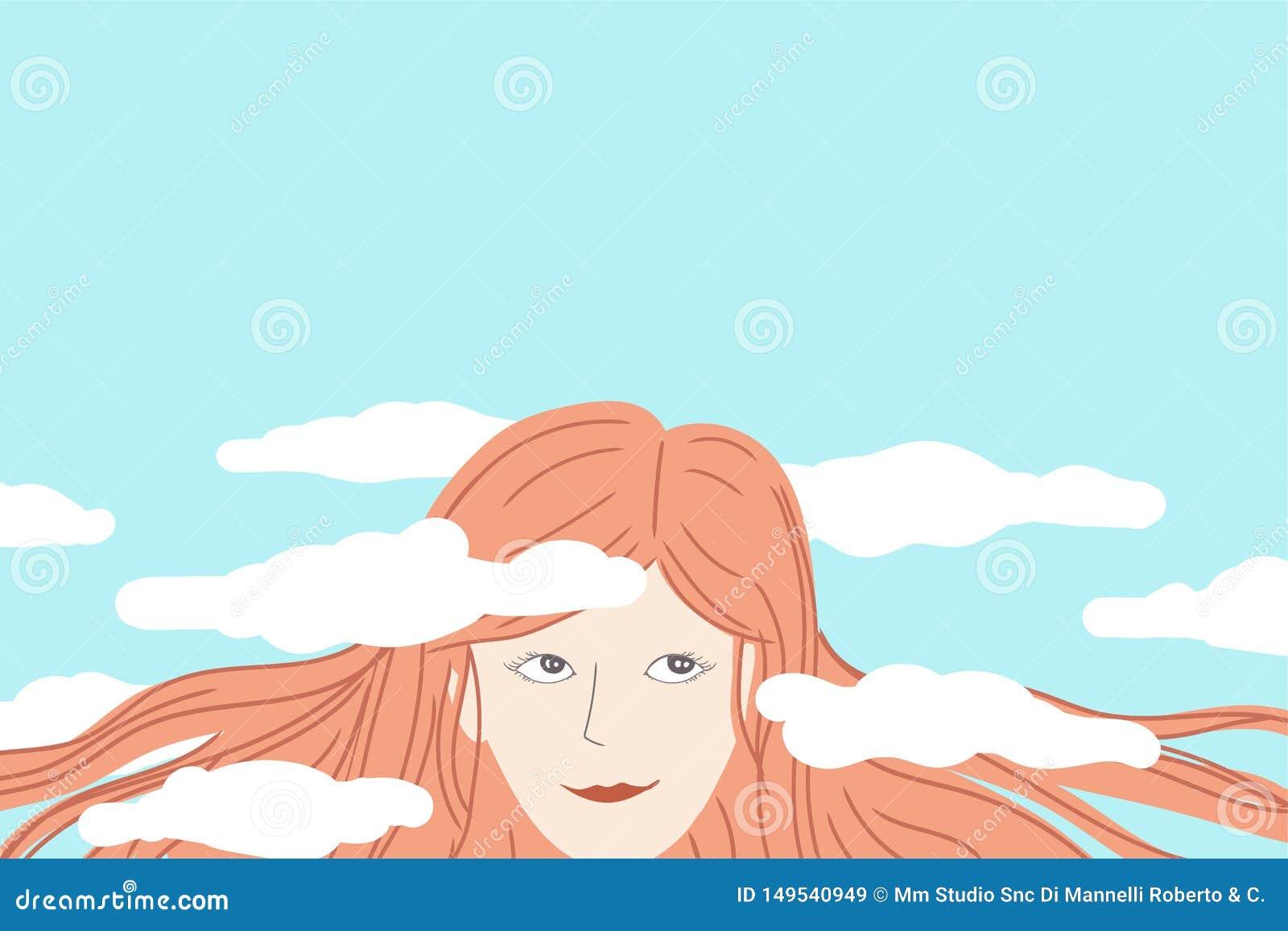 作白日梦与她的在云彩的头的愉快的妇女