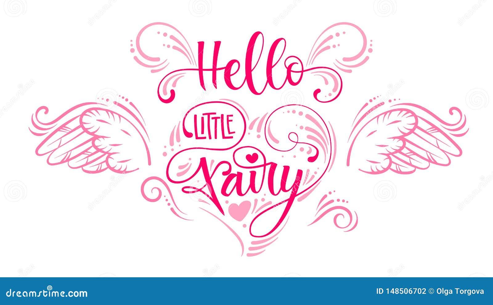你好一点Fairyquote 在心脏构成的手拉的现代书法剧本窗框词组上写字