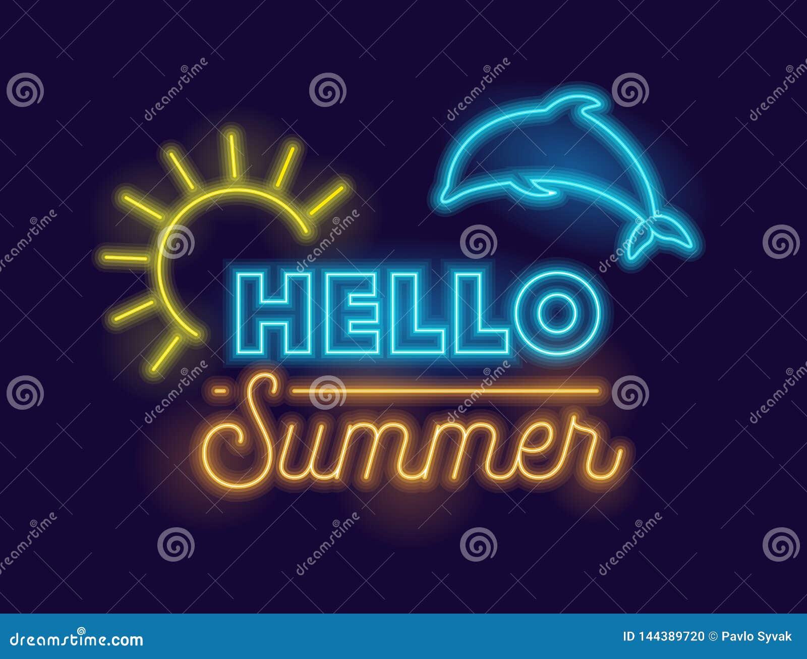 你好与高度详细的现实霓虹发光的太阳的夏天创造性的在深蓝背景的横幅和海豚 发光五颜六色
