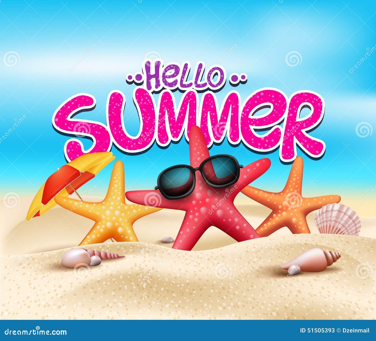 你好在海滩海滨的夏天与现实对象