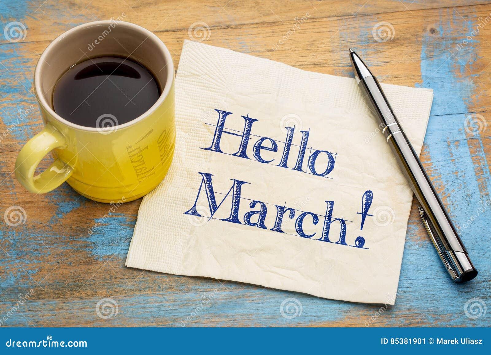 你好在餐巾的3月