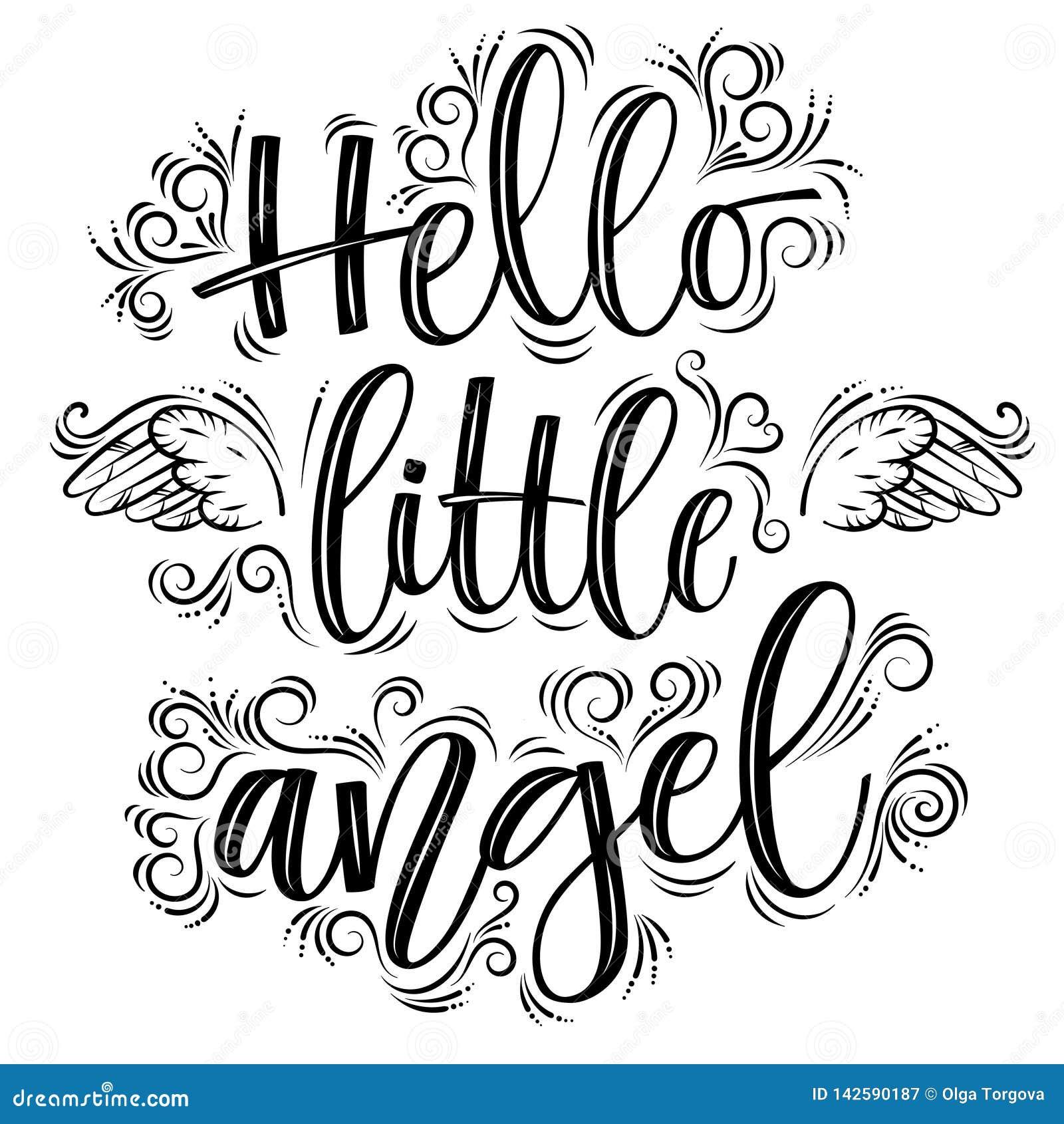你好在黑题字上写字的一点天使隔绝在白色背景