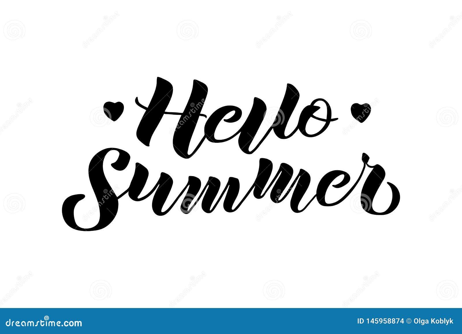 你好夏天手拉的在上写字的构成