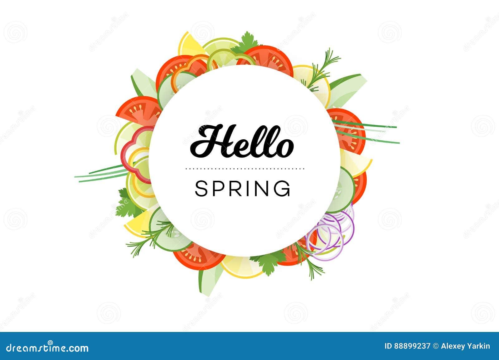你好春天 与在白色背景隔绝的菜的食物横幅