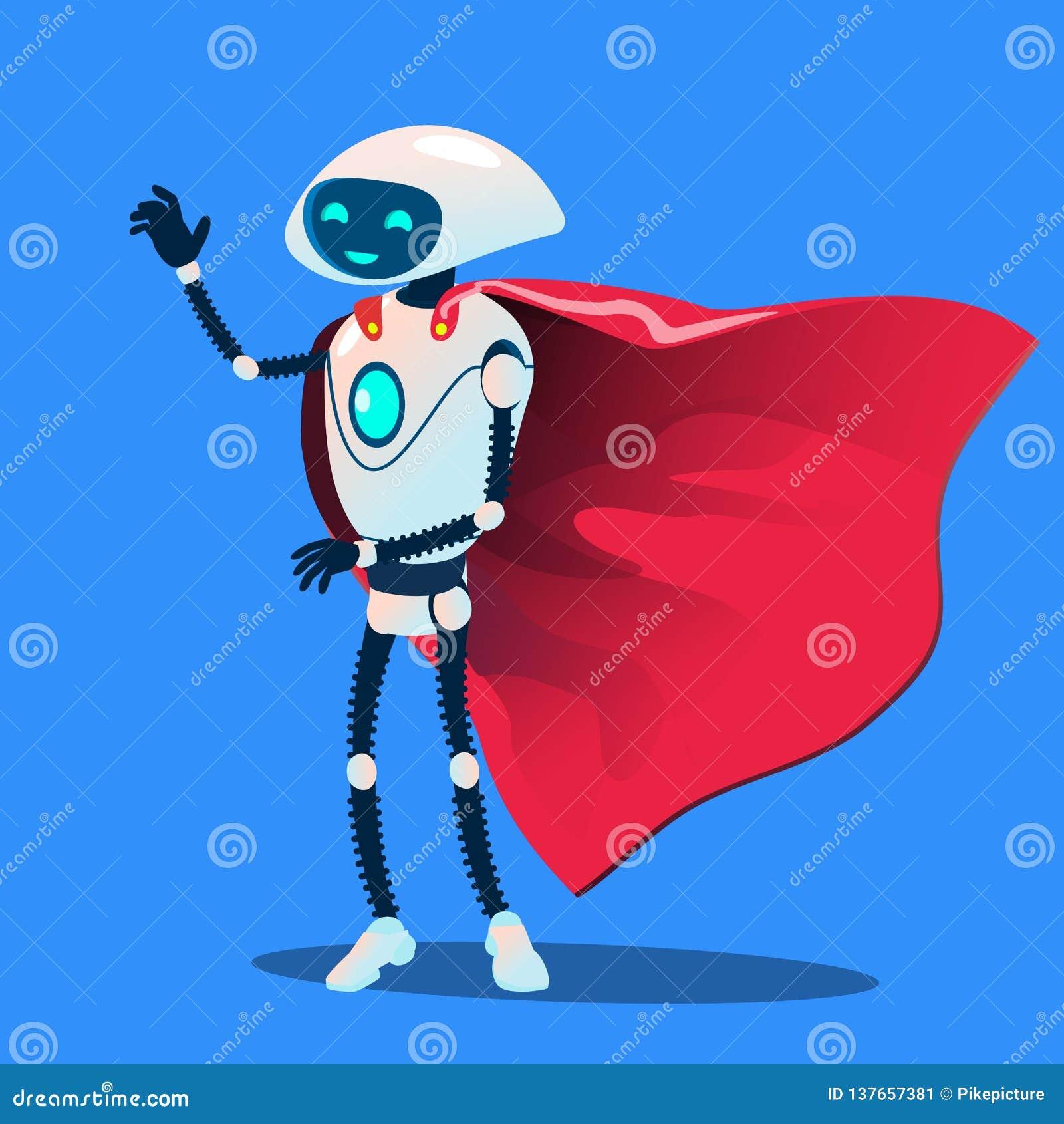 佩带红色特级英雄斗篷传染媒介的机器人 按钮查出的现有量例证推进s启动妇女