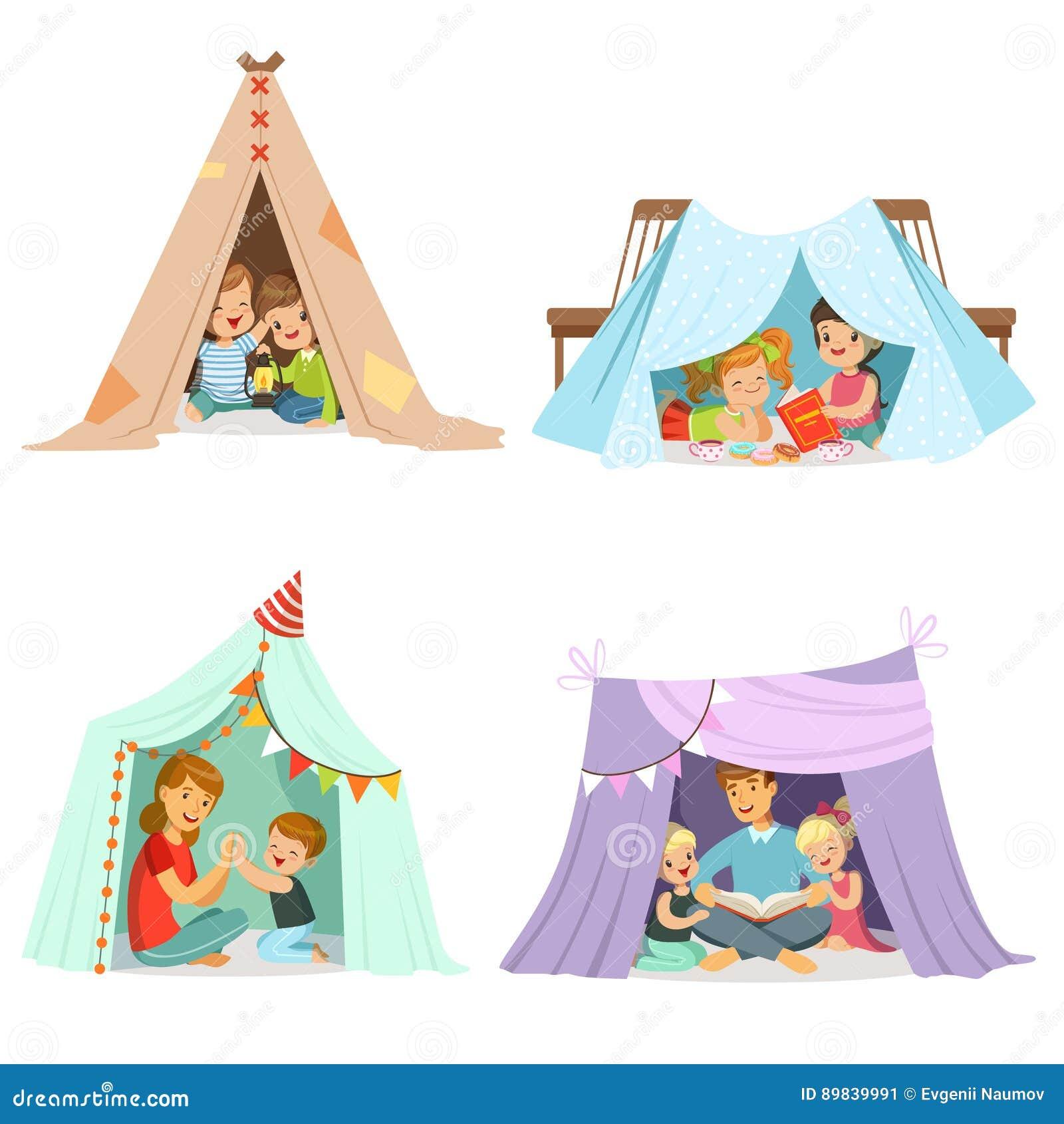 使用与圆锥形帐蓬帐篷,标签设计的集合的逗人喜爱的小孩 动画片详细的五颜六色的例证