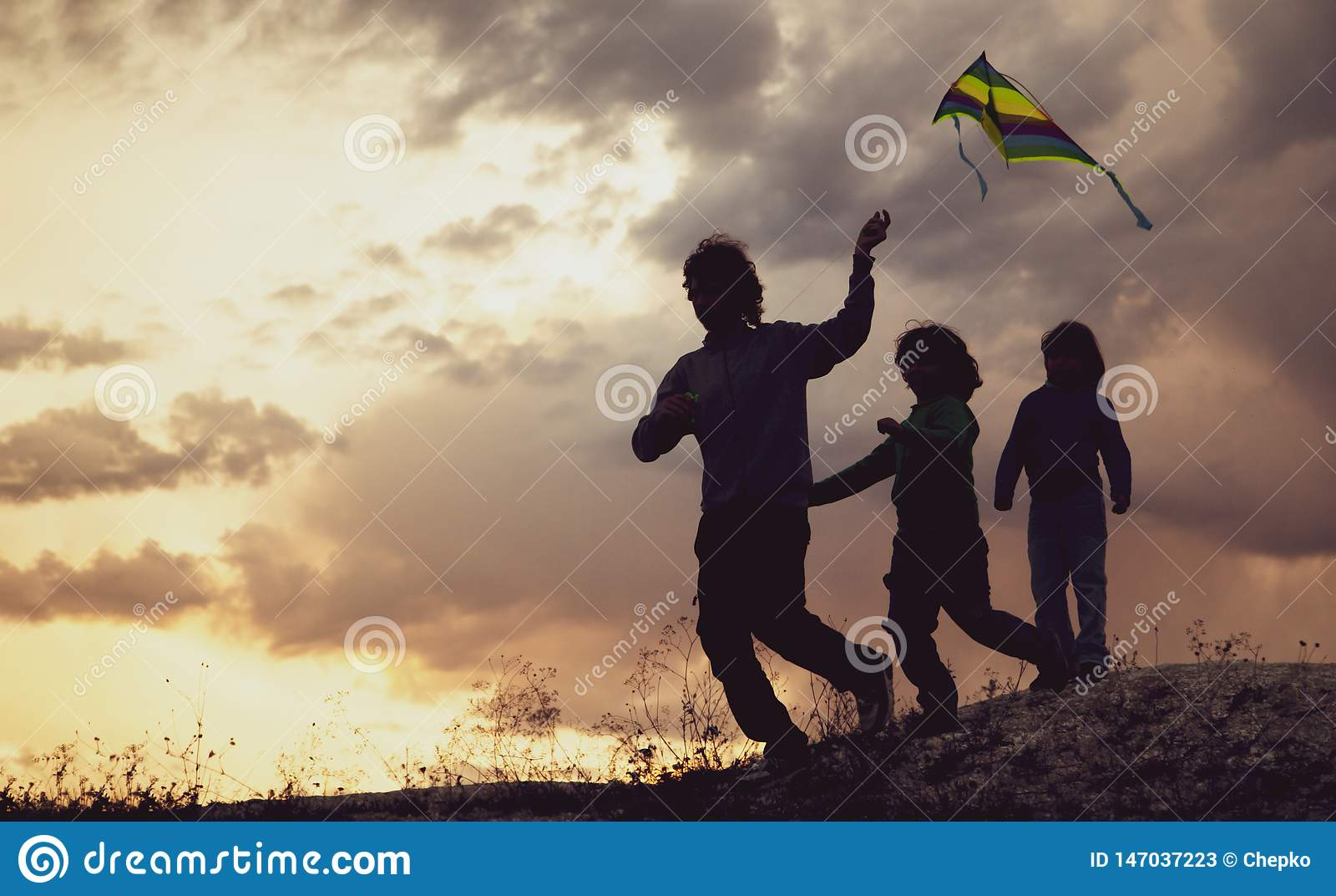 使用与在夏天日落草甸的风筝的孩子现出了轮廓