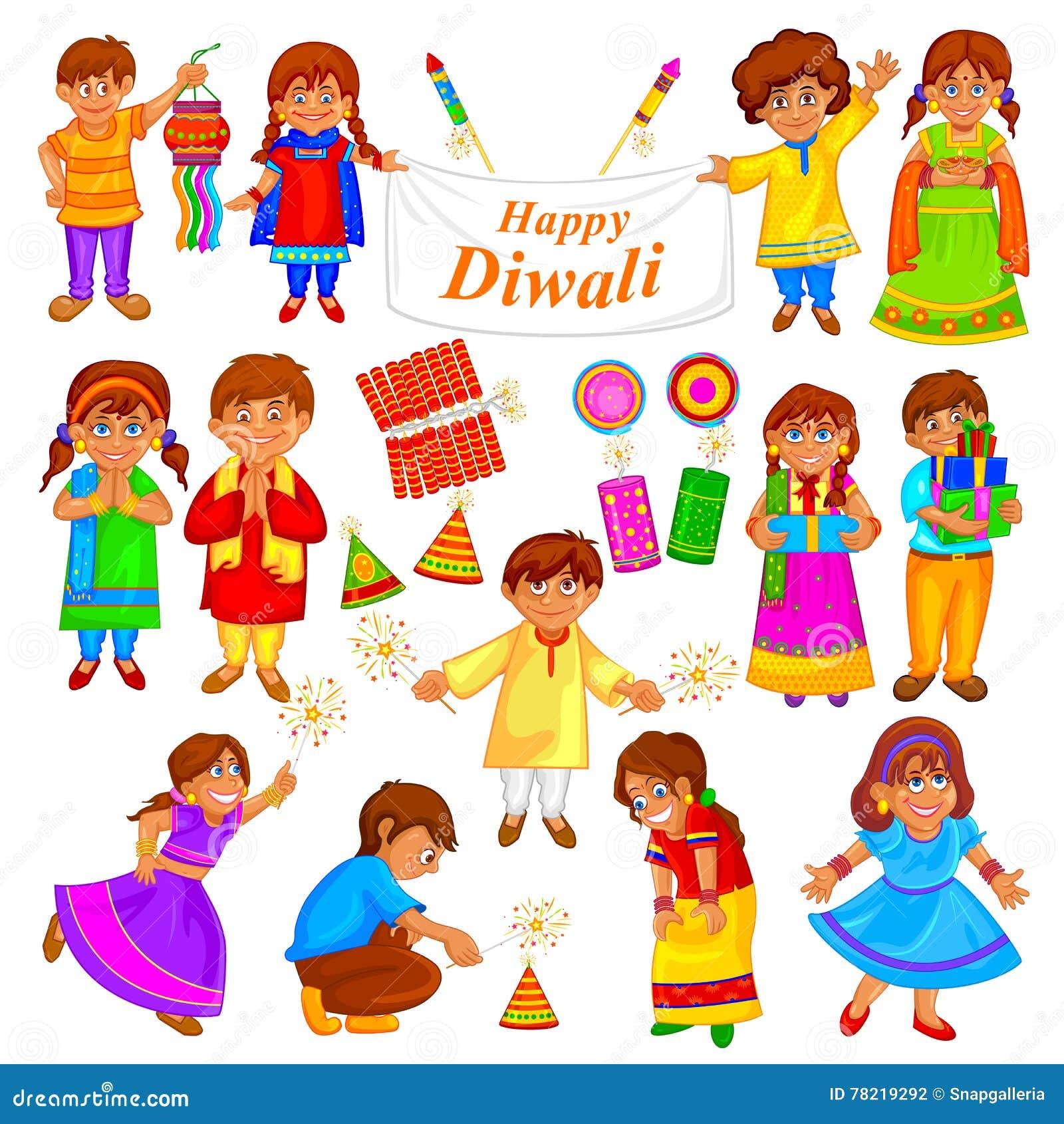 使用与爆竹的孩子在Diwal