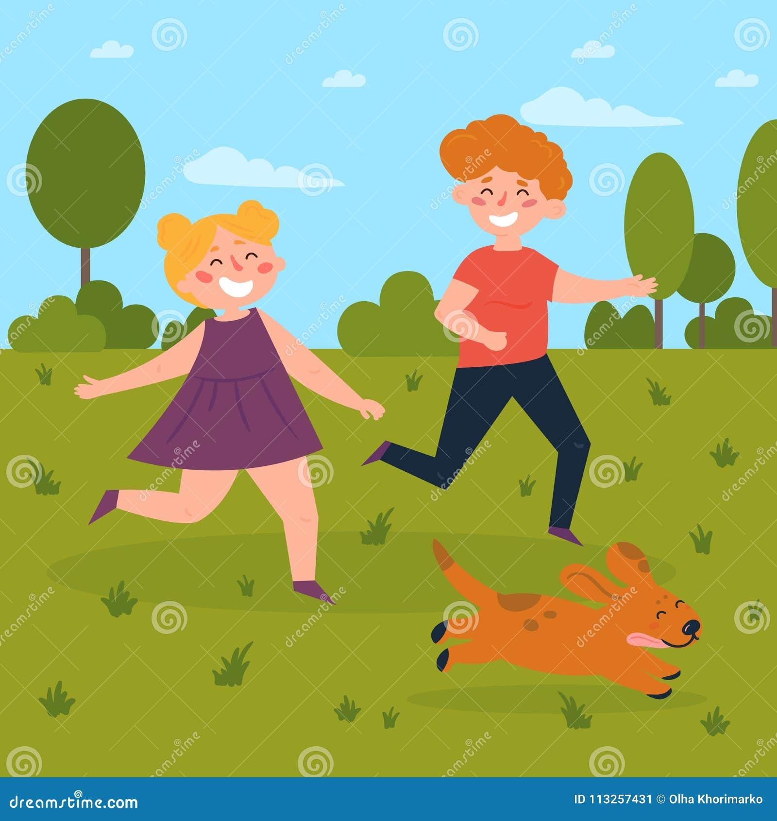 使用与狗的孩子在公园 男孩和女孩