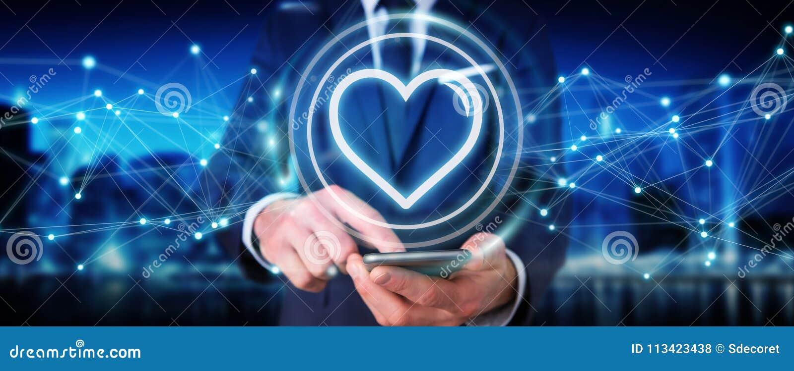 使用发现约会的应用的商人爱网上3D烈