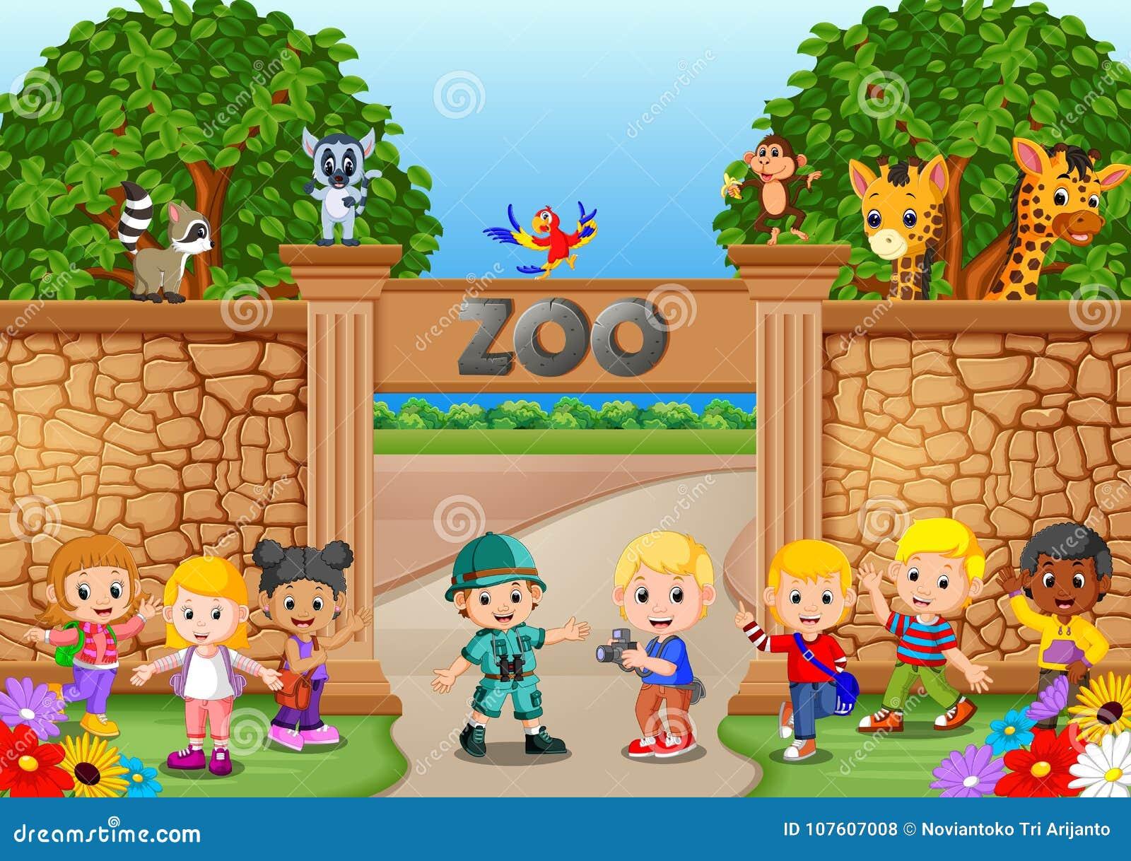 使用在有动物园管理员和动物的动物园的孩子