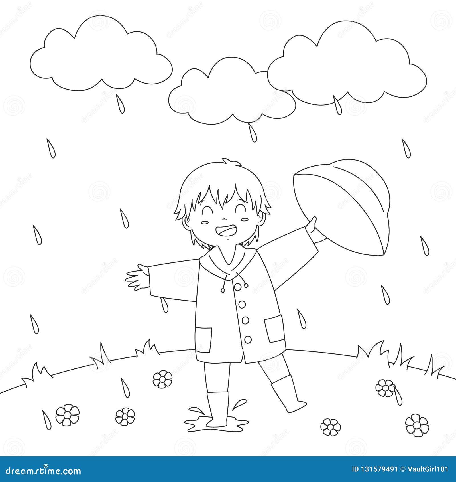 使用在雨着色页传染媒介设计下的男孩
