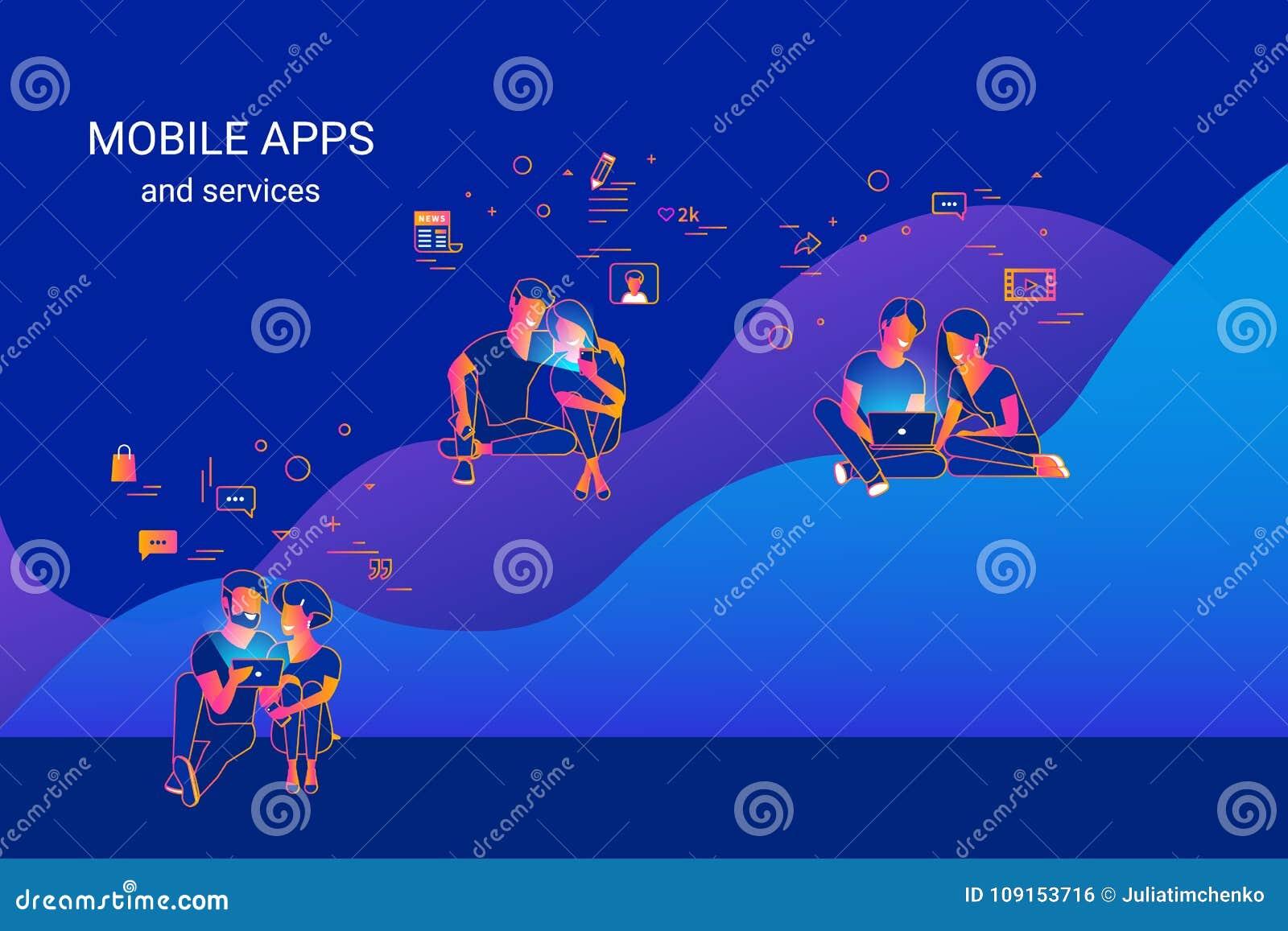 使用小配件例如智能手机、片剂和膝上型计算机的青年人坐图表和享受联机服务和