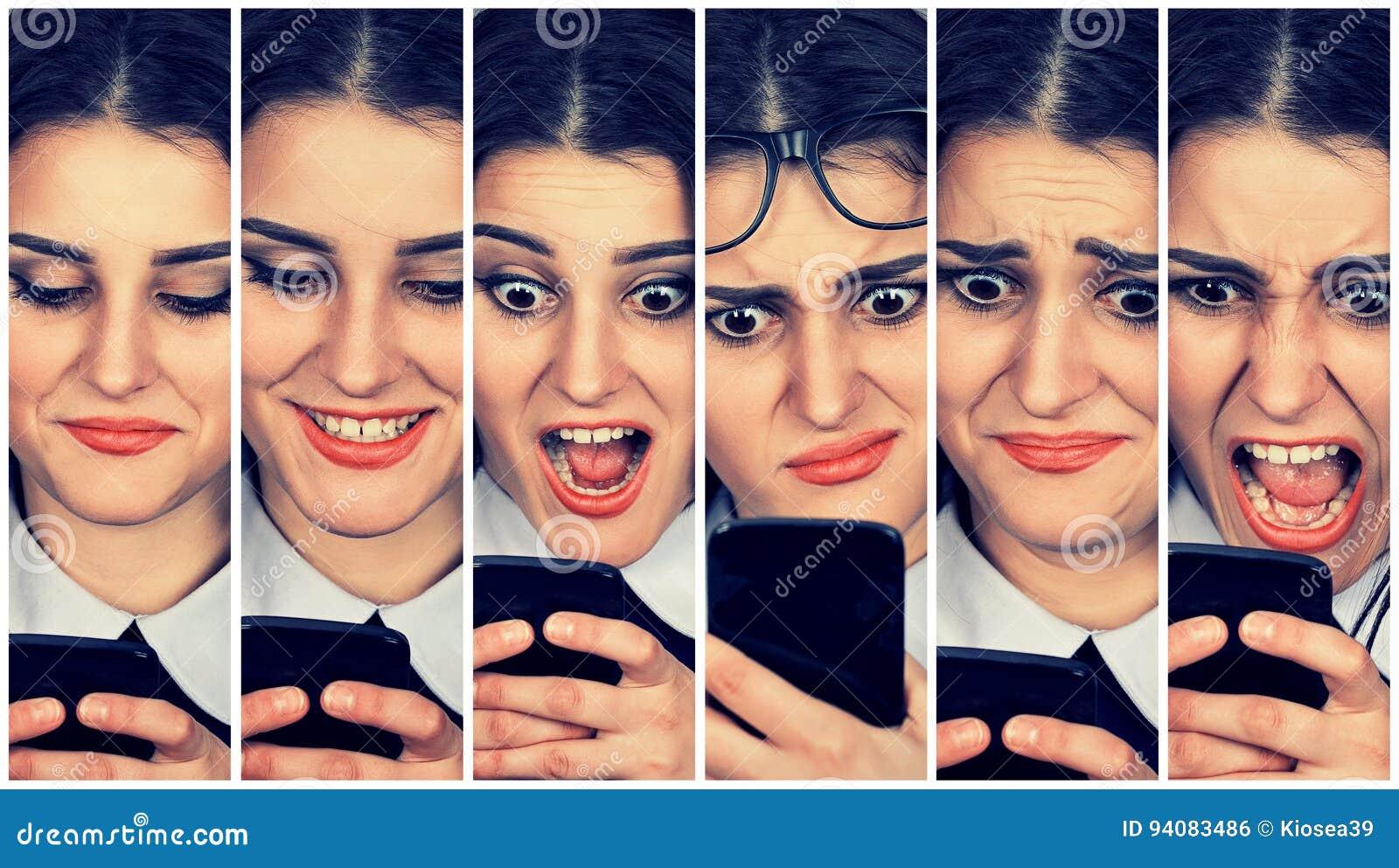使用巧妙的电话改变的情感的妇女