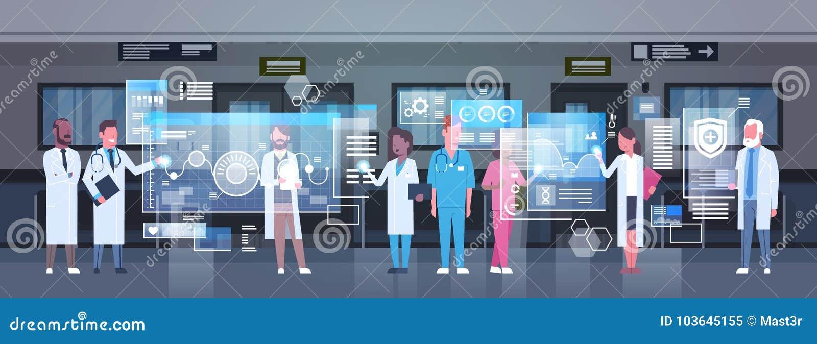 使用数字式显示器的小组医生运作在医院医学和现代技术概念