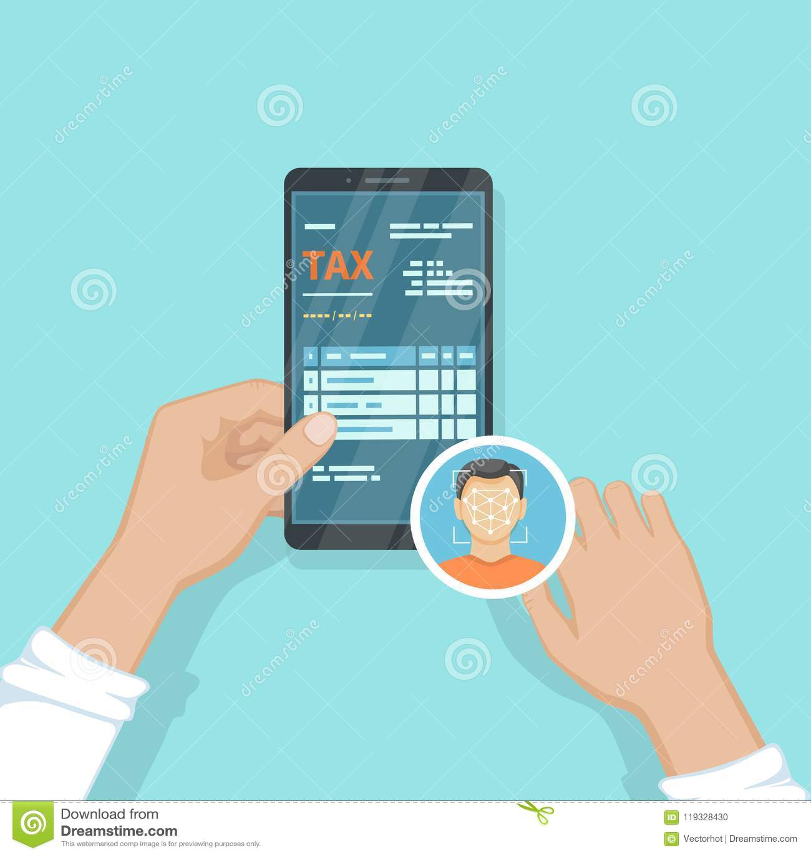 使用面貌识别和证明,在他的智能手机的面孔ID的人的薪水税 网上付税通过电话