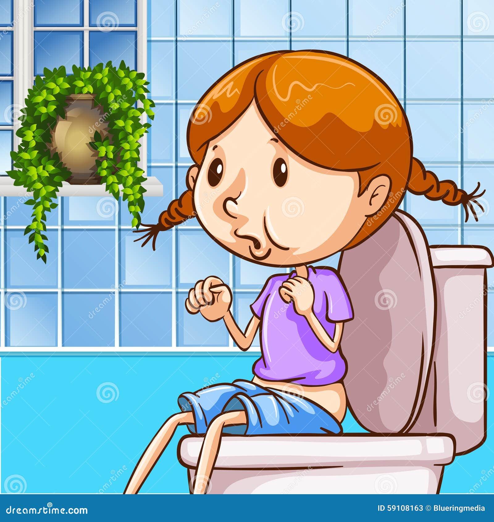 使用洗手间的小女孩