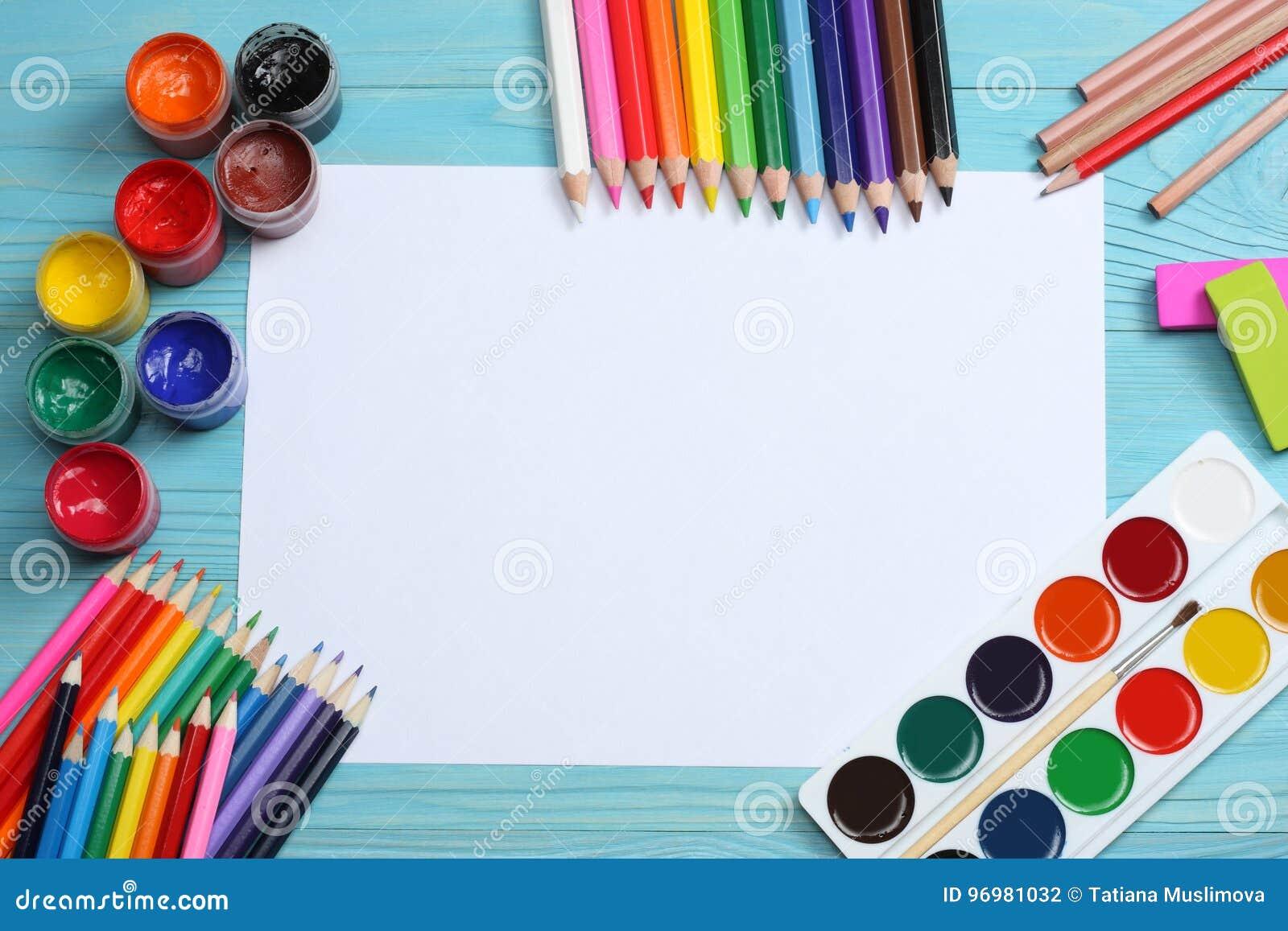 例证办公室学校用品向量 学校背景 色的铅笔、笔、痛苦、纸学校的和学生教育