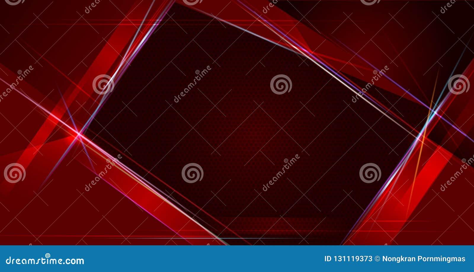 例证抽象红色和黑金属与光线和光滑的线 金属背景的框架设计