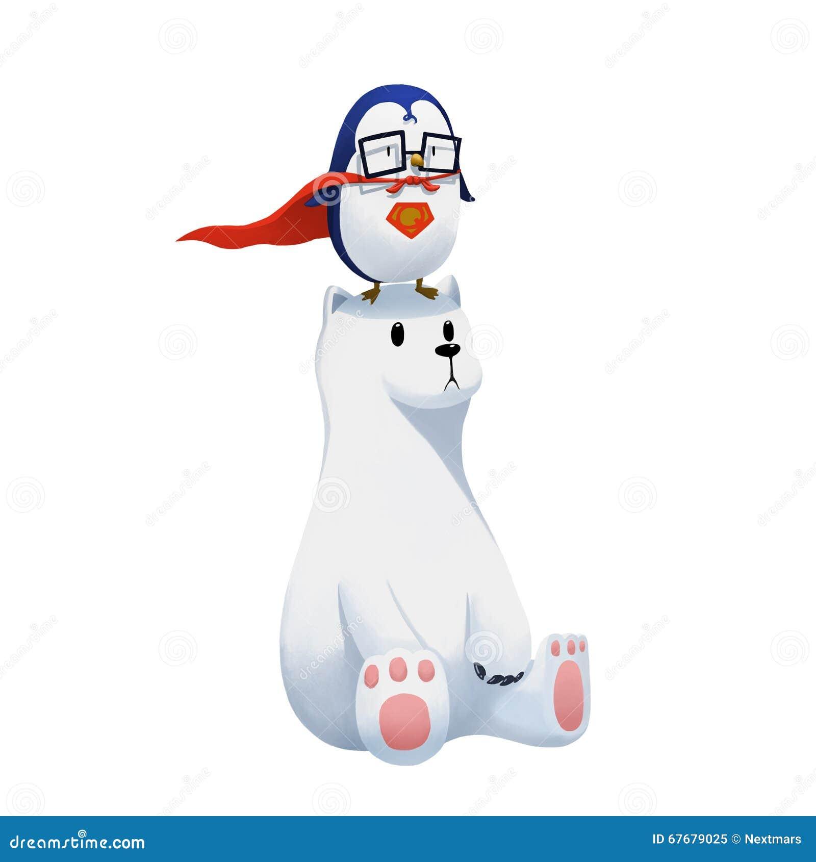 例证:在白色背景和北极熊隔绝的超级企鹅图片