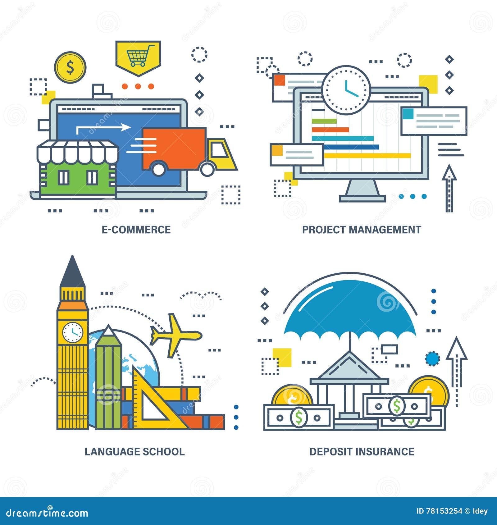 例证-电子商务,项目管理,语言学院,保险的概念