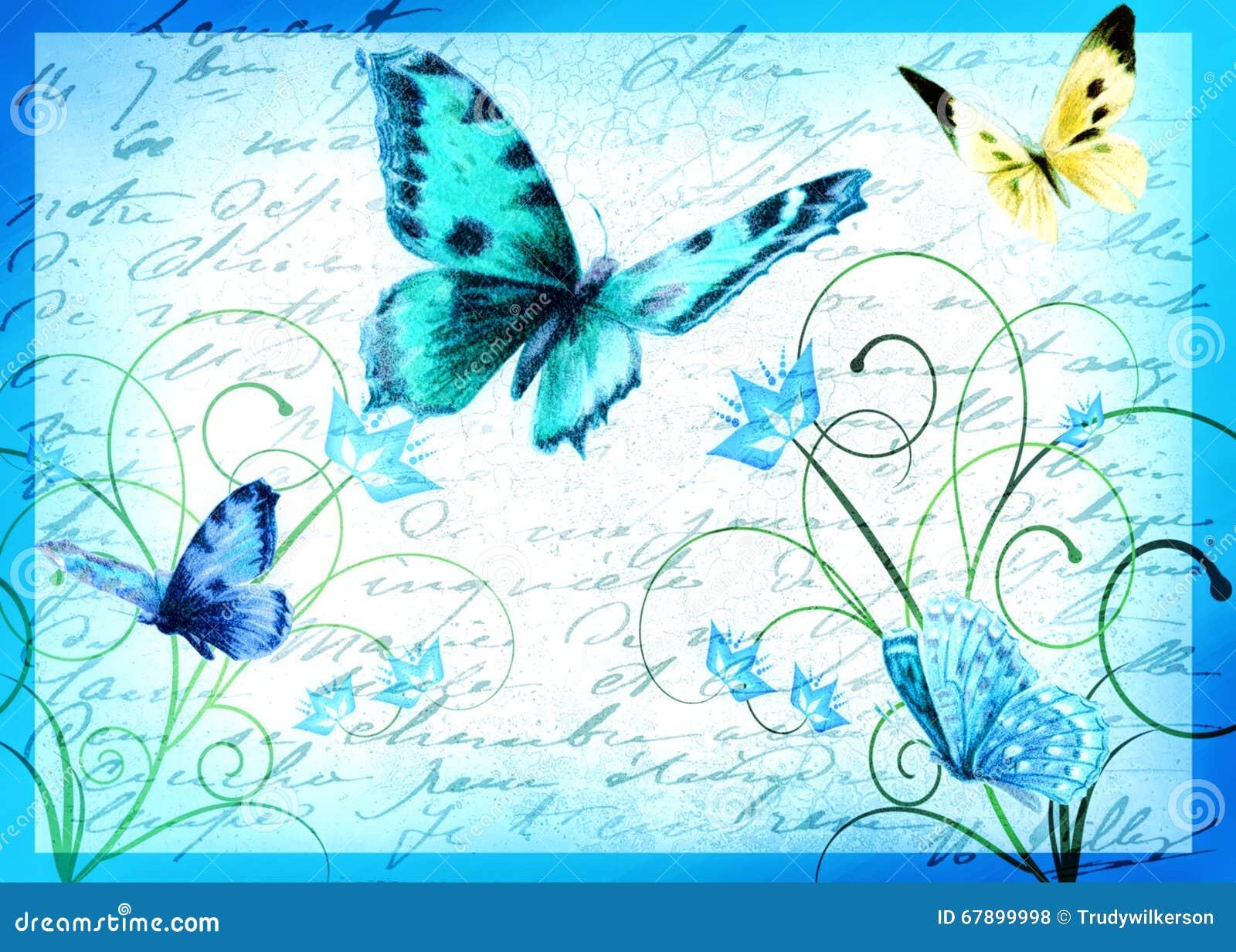 例证-蝴蝶和花-美好的春天
