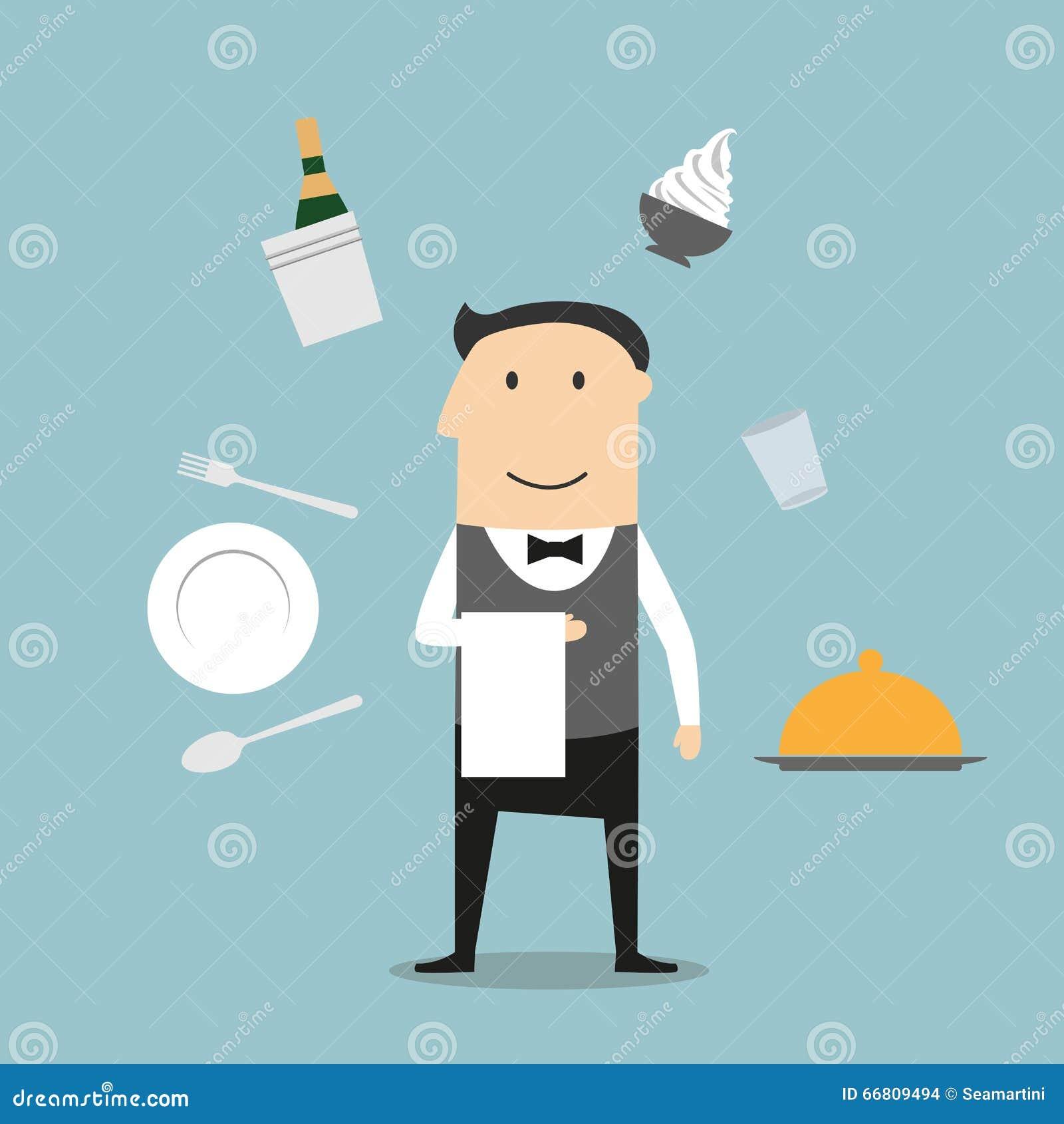 侍者、餐馆器物和食物象
