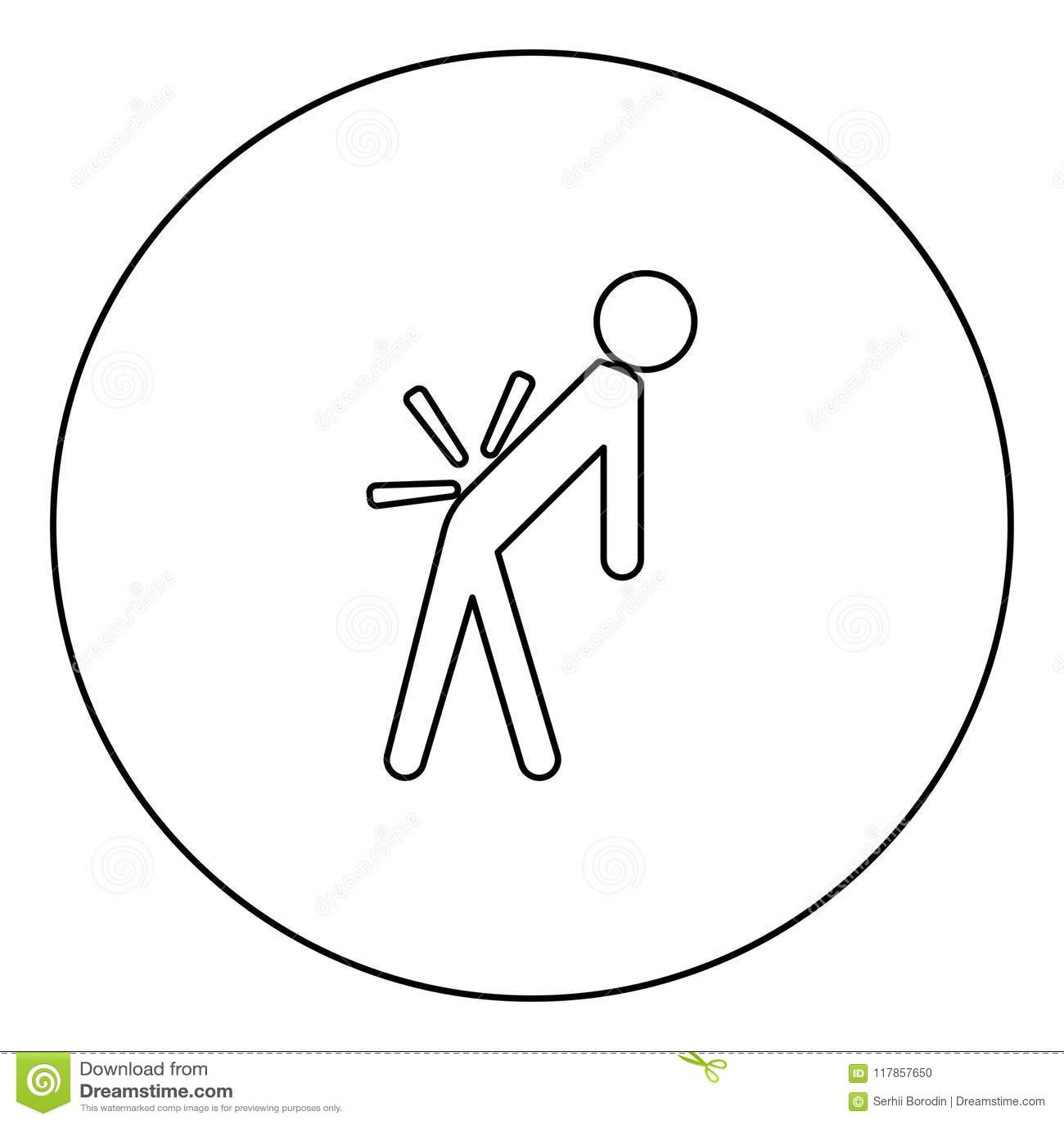 供以人员与病残后面的a 在圈子图象的腰疼黑象概述
