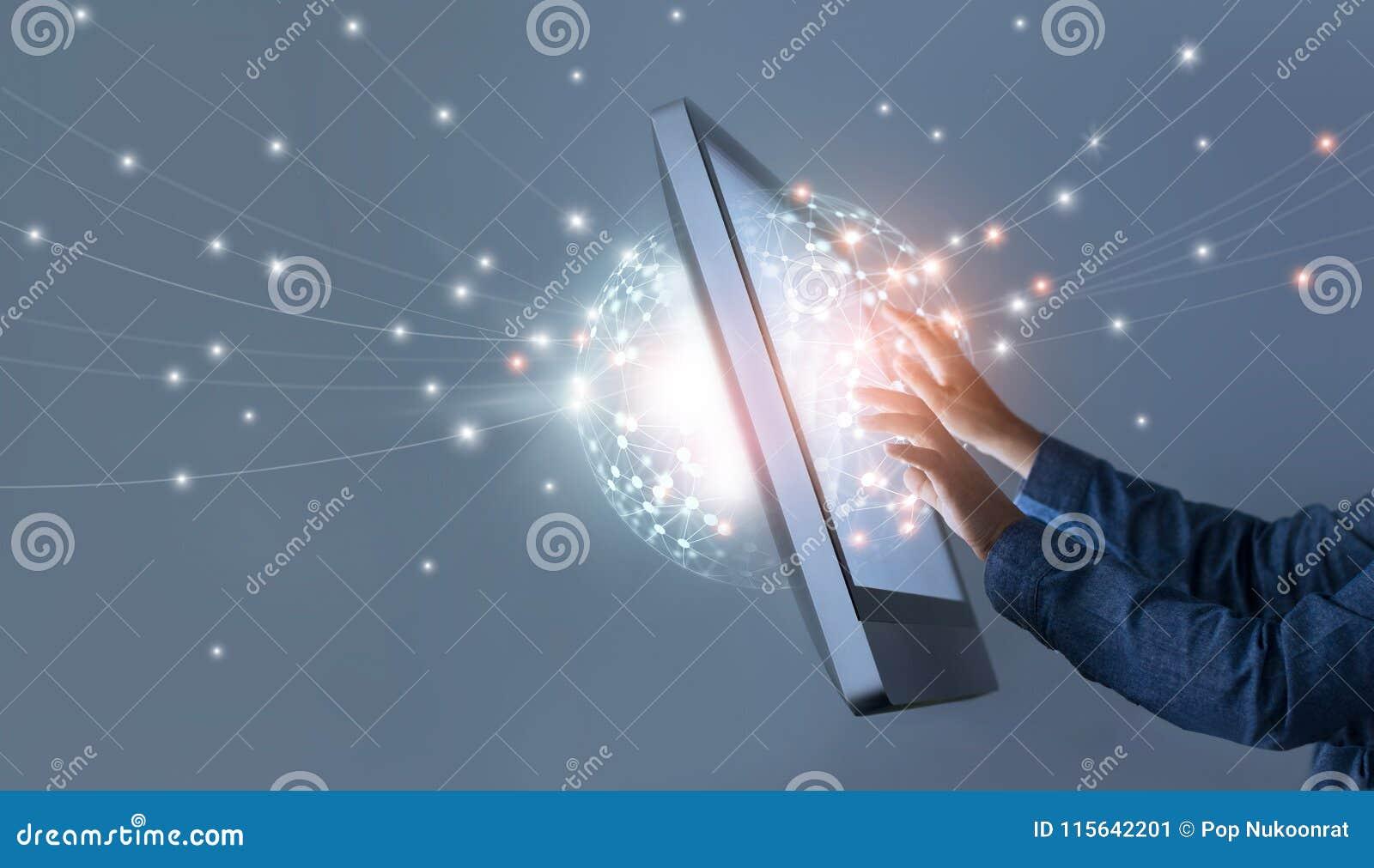 供以人员感人的圈子全球性网络连接,社会媒介
