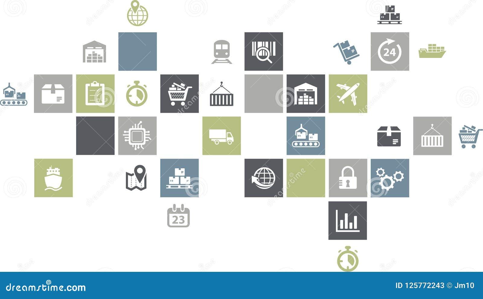 供应链管理概念-与象的五颜六色的例证