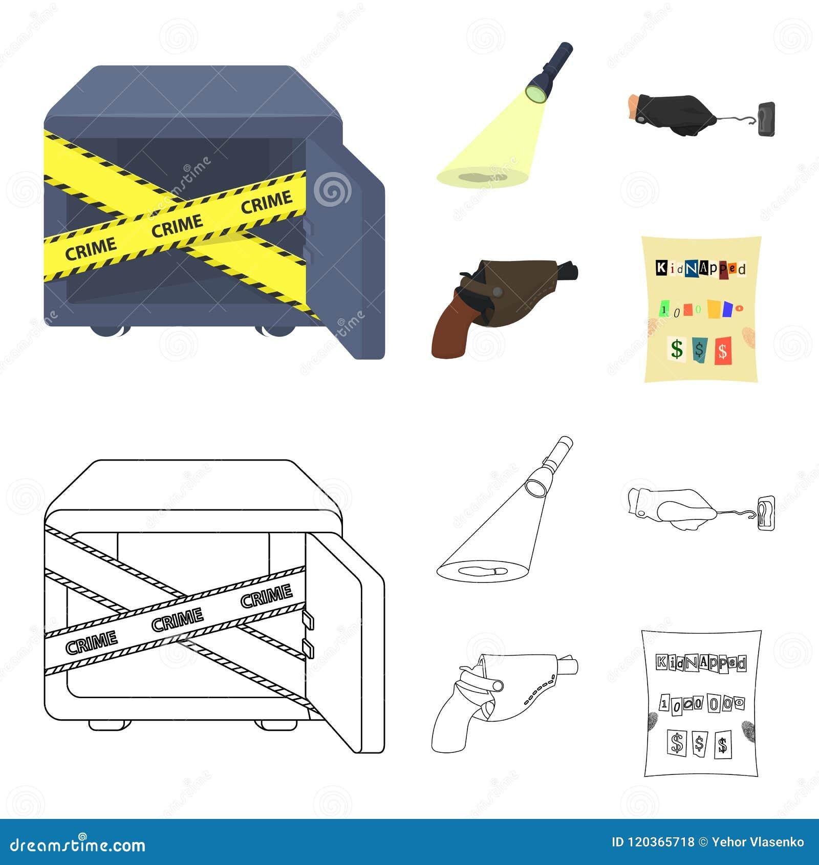 侦探手电阐明脚印,有万能钥匙的犯罪手,在手枪皮套的一把手枪,