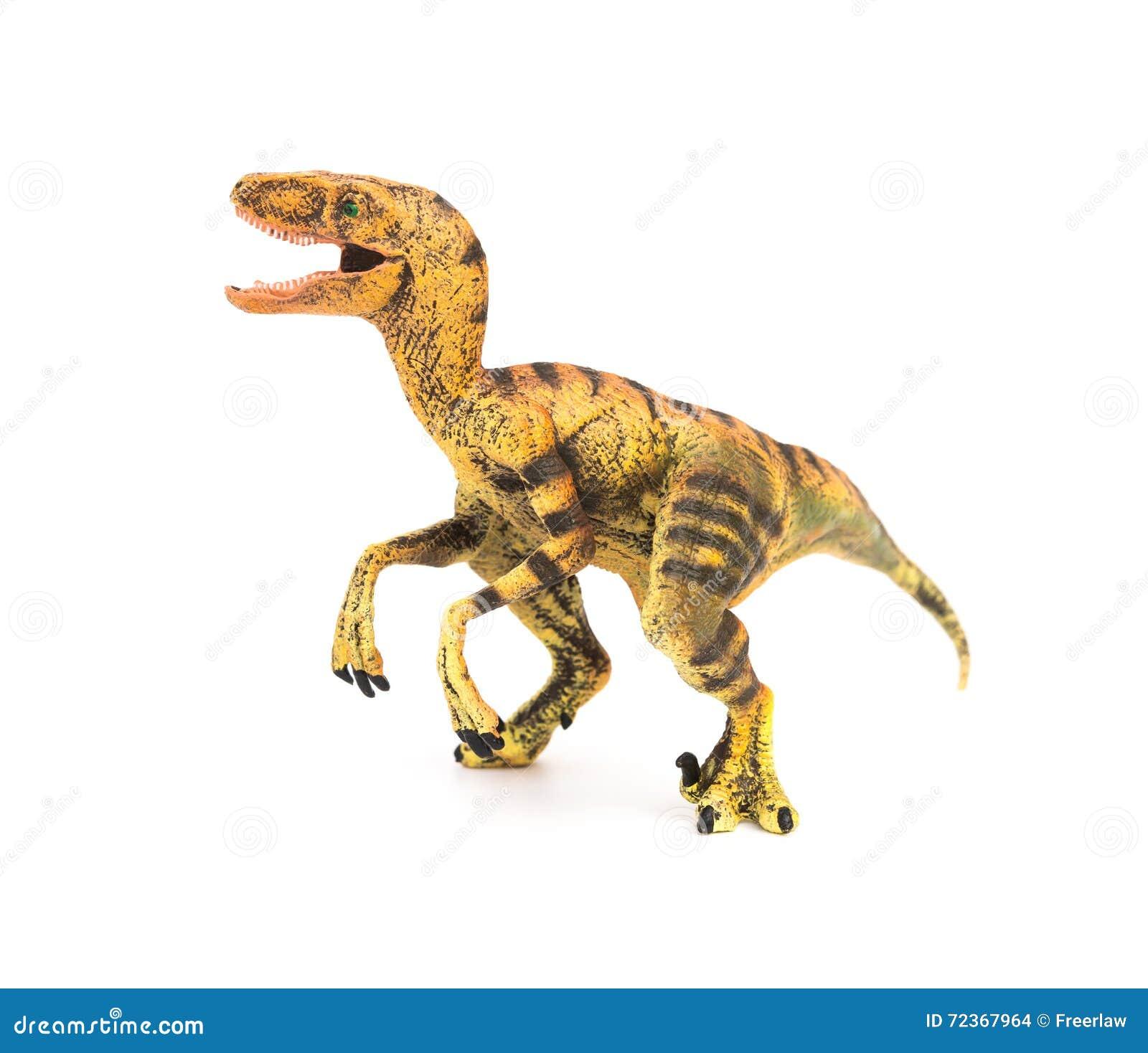 侧视图黄色在白色背景的肉食鸟玩具