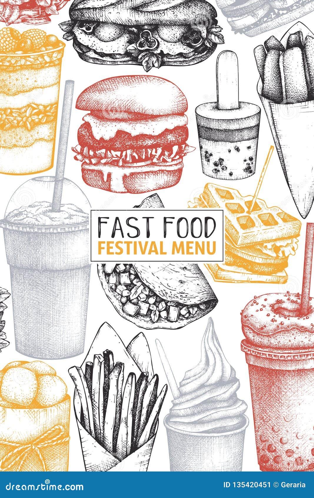 便当餐馆的葡萄酒设计 传染媒介街道食物菜单模板用手拉的汉堡,奶昔,冰淇淋,油炸物,cof