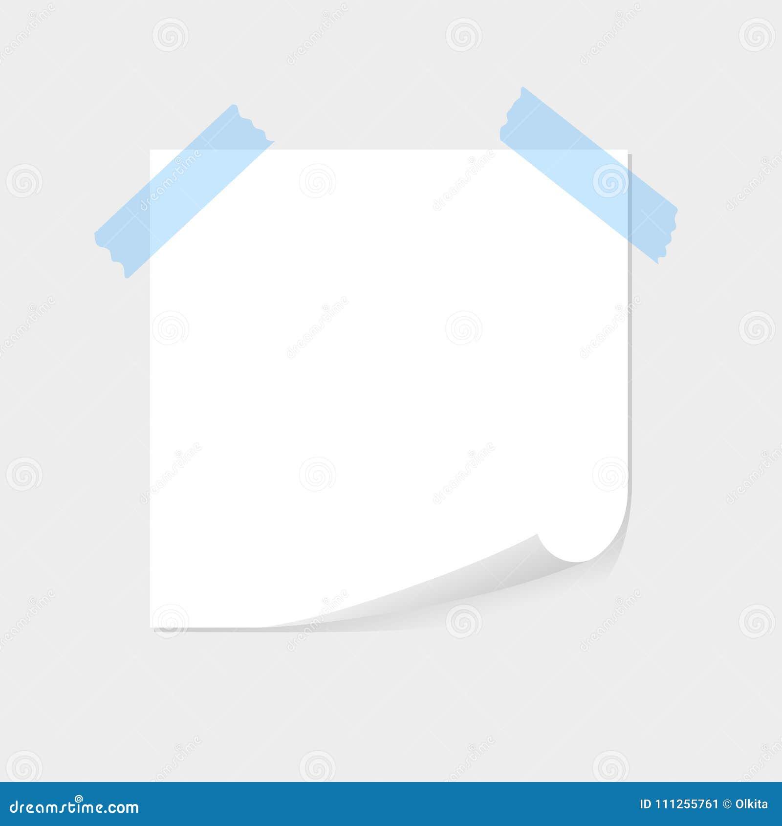 便条纸由蓝色稠粘的磁带、sellotape与空间文本的或消息黏附了在灰色背景 名单,板料,空白