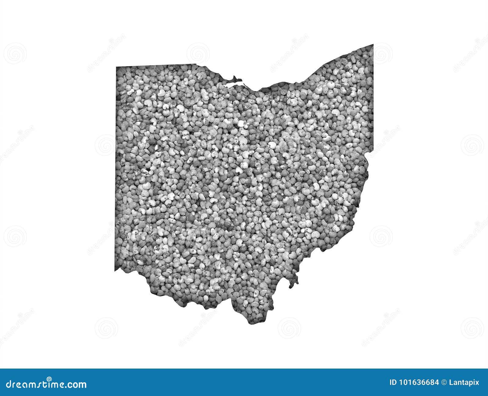 俄亥俄的地图罂粟种子的