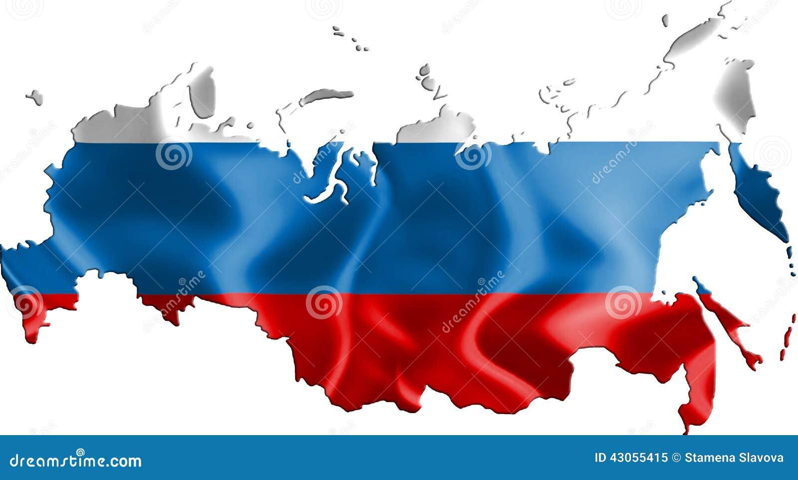 俄罗斯的地图有旗子的