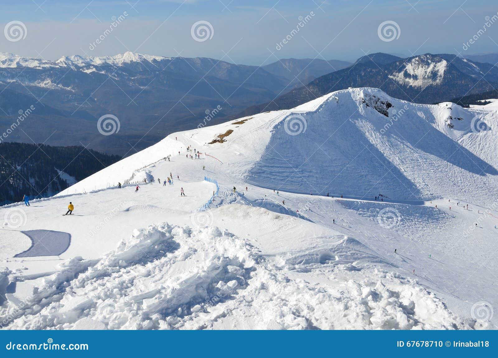 俄罗斯,索契,滑雪胜地罗莎Khutor的倾斜