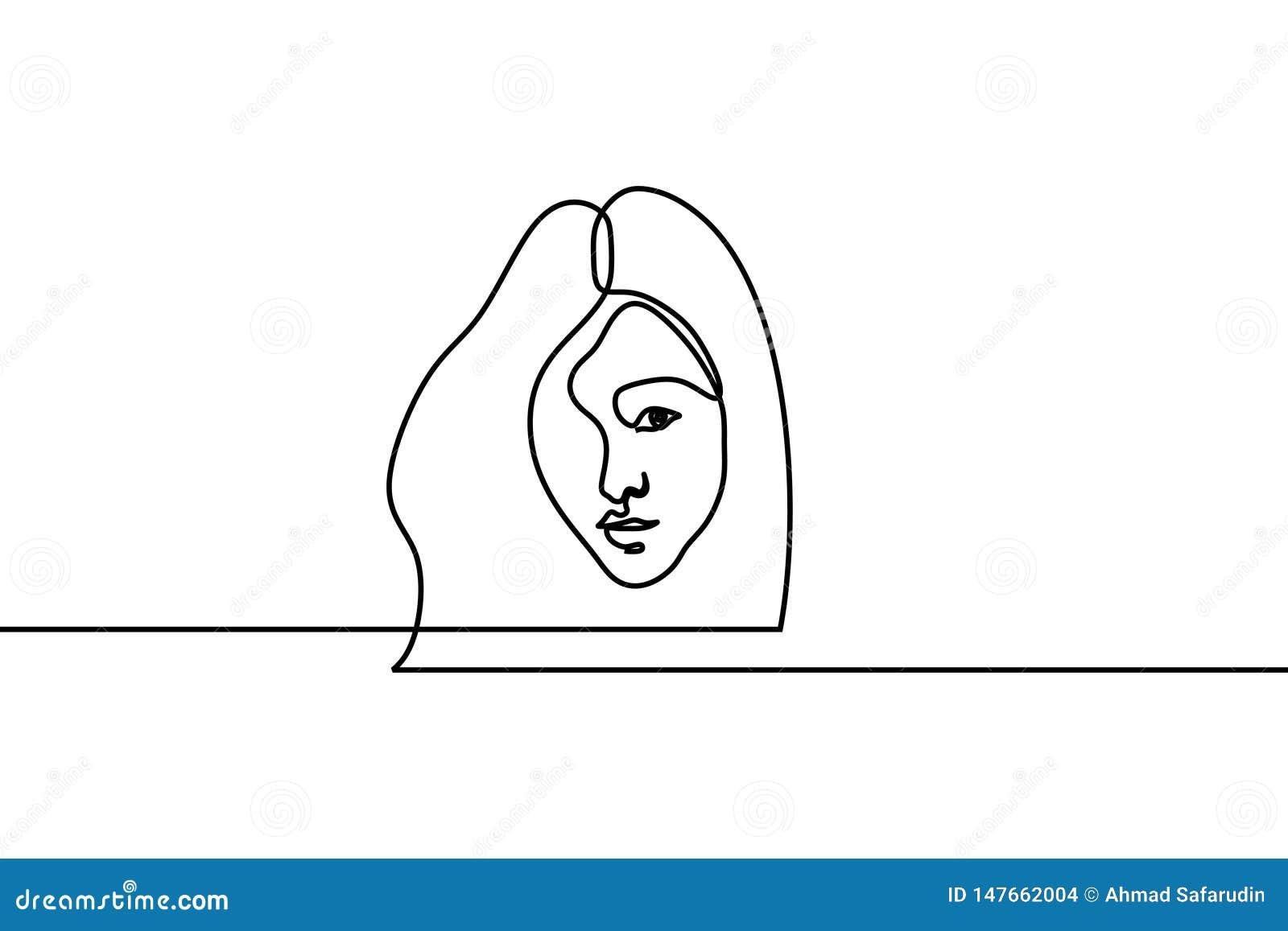 俏丽的女孩连续的一线描 在白色背景的传染媒介例证简单派妇女女性设计好为海报