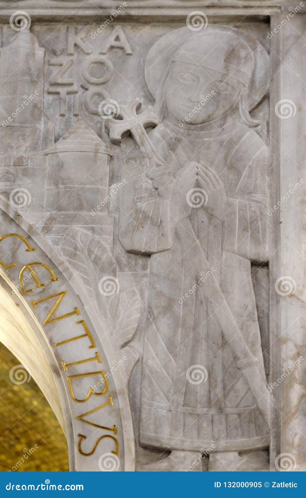 保佑的奥古斯丁Kazotic,祭坛上的天盖细节在圣布莱斯教会里在萨格勒布