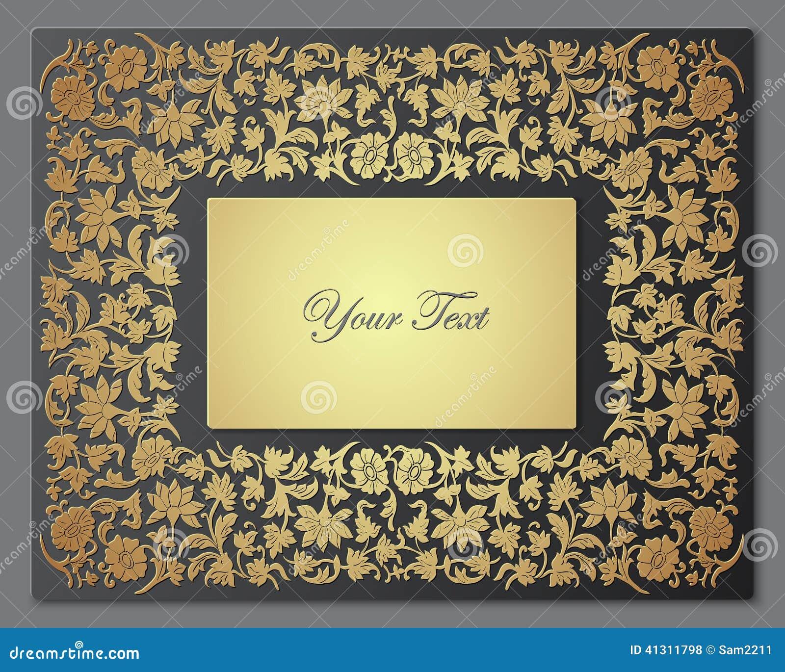 保存日期花卉卡片 边界框架