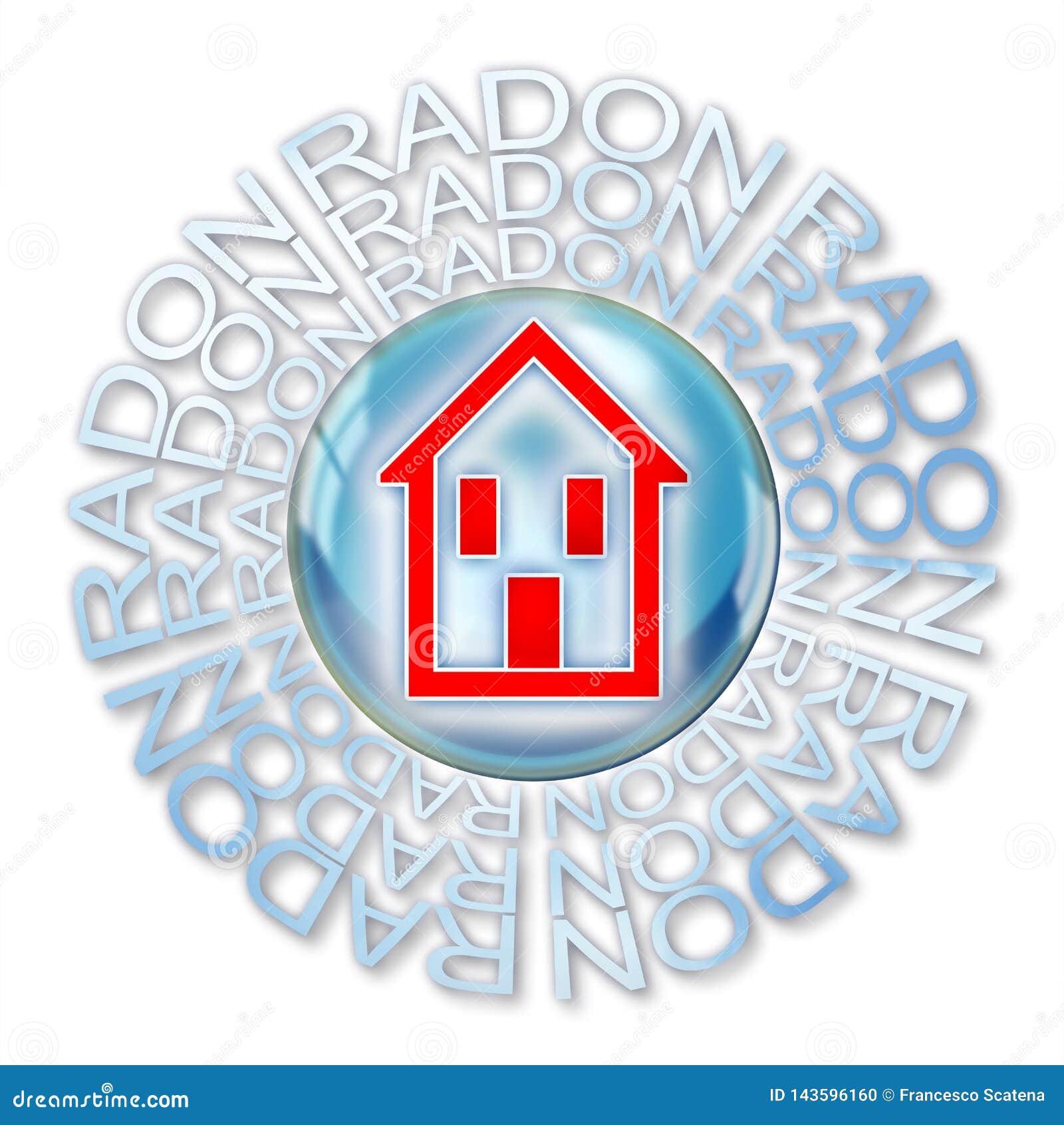 保护您在家免受氡气气体-与一个房子的剪影的概念例证在肥皂泡里面的