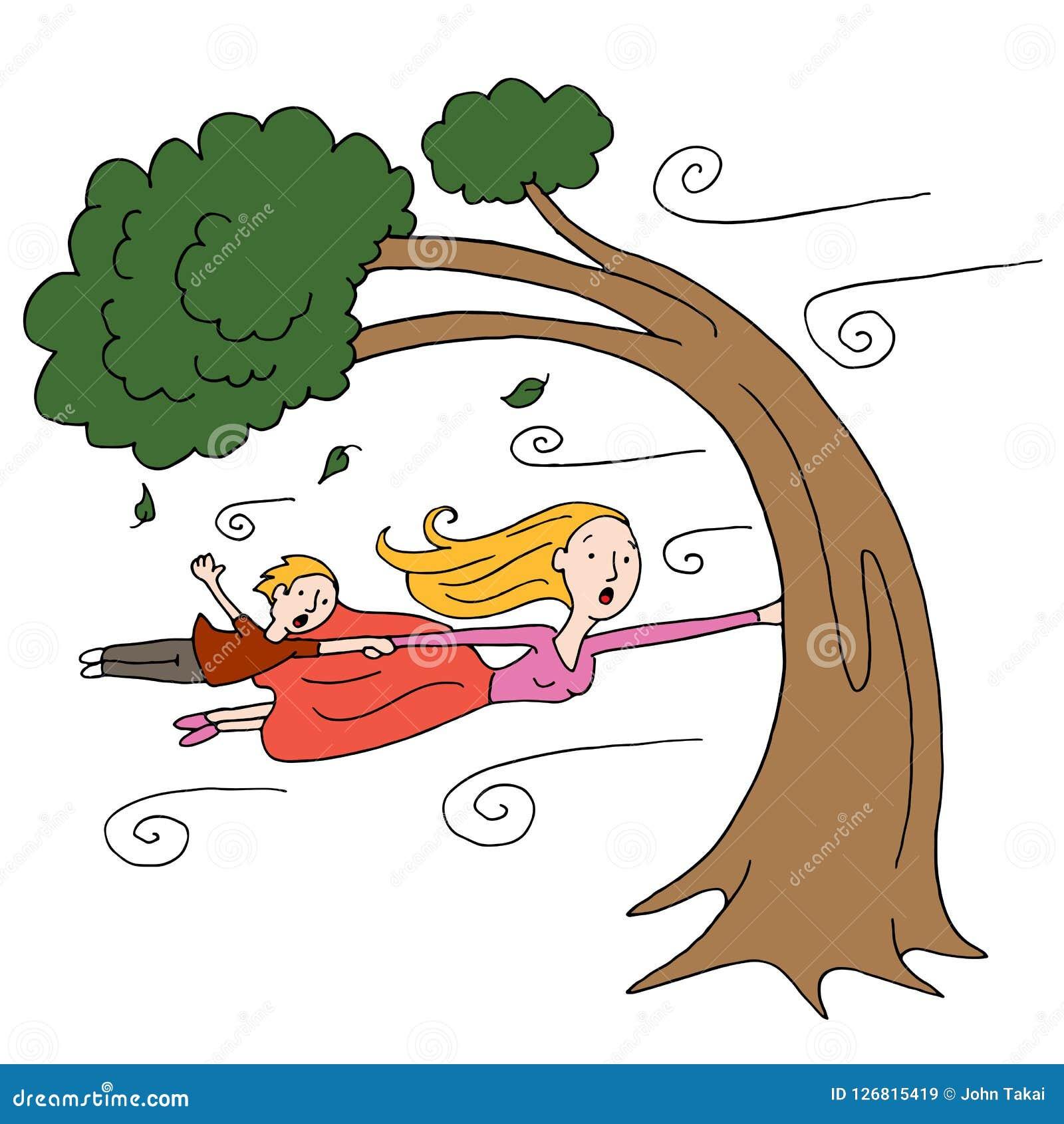 保持树的大风天母亲和孩子